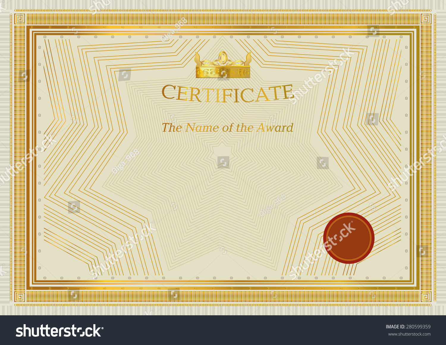 Gold Certificate Official Certificate Template Crown Stock Vector