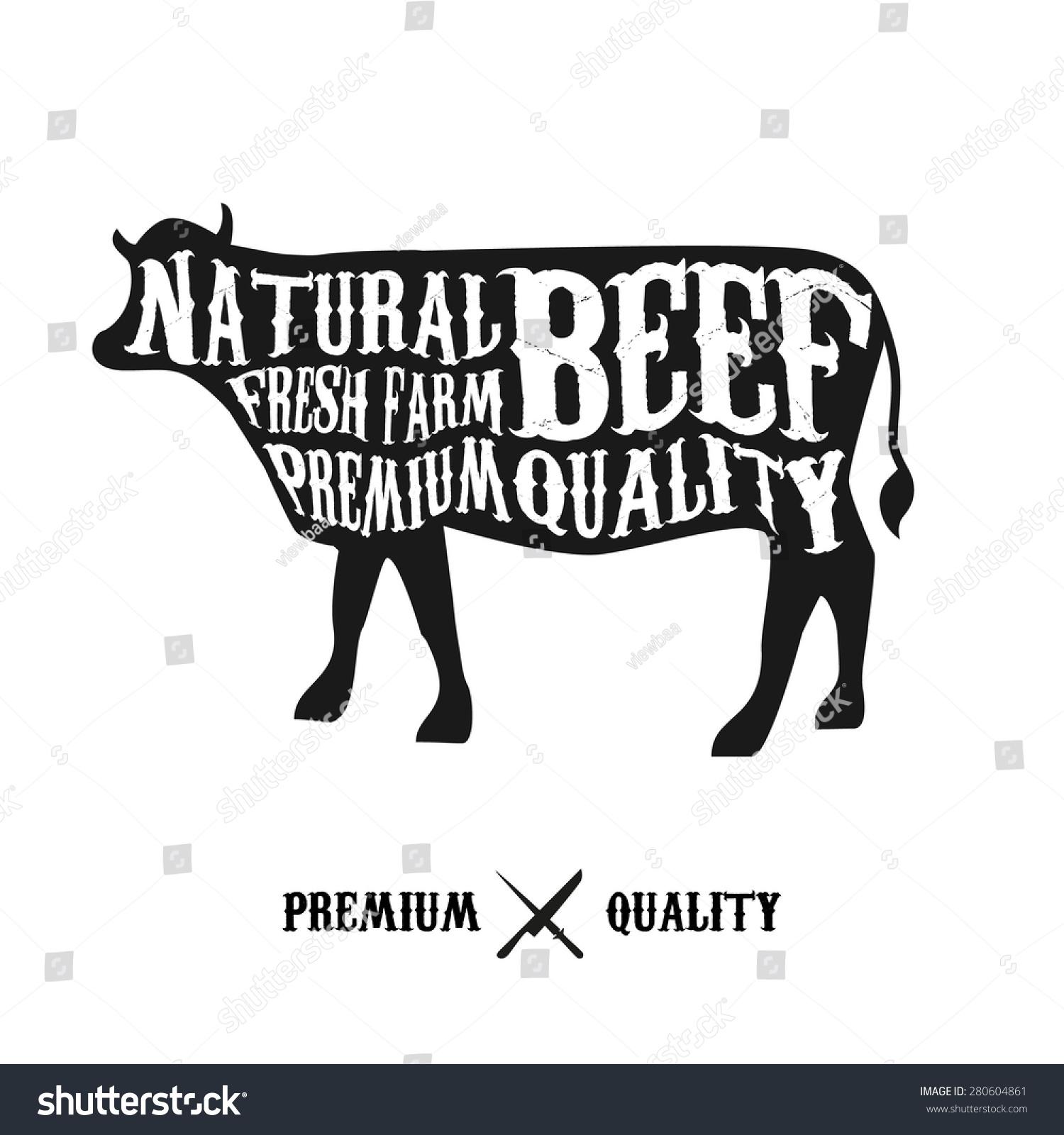 Vector beef cuts diagram vintage style stock vector 280604861 vector beef cuts diagram in vintage style pooptronica
