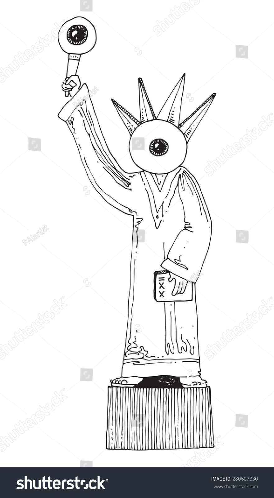 illustration statue of liberty caricature big eye head and eye flame torch crown simple drawing