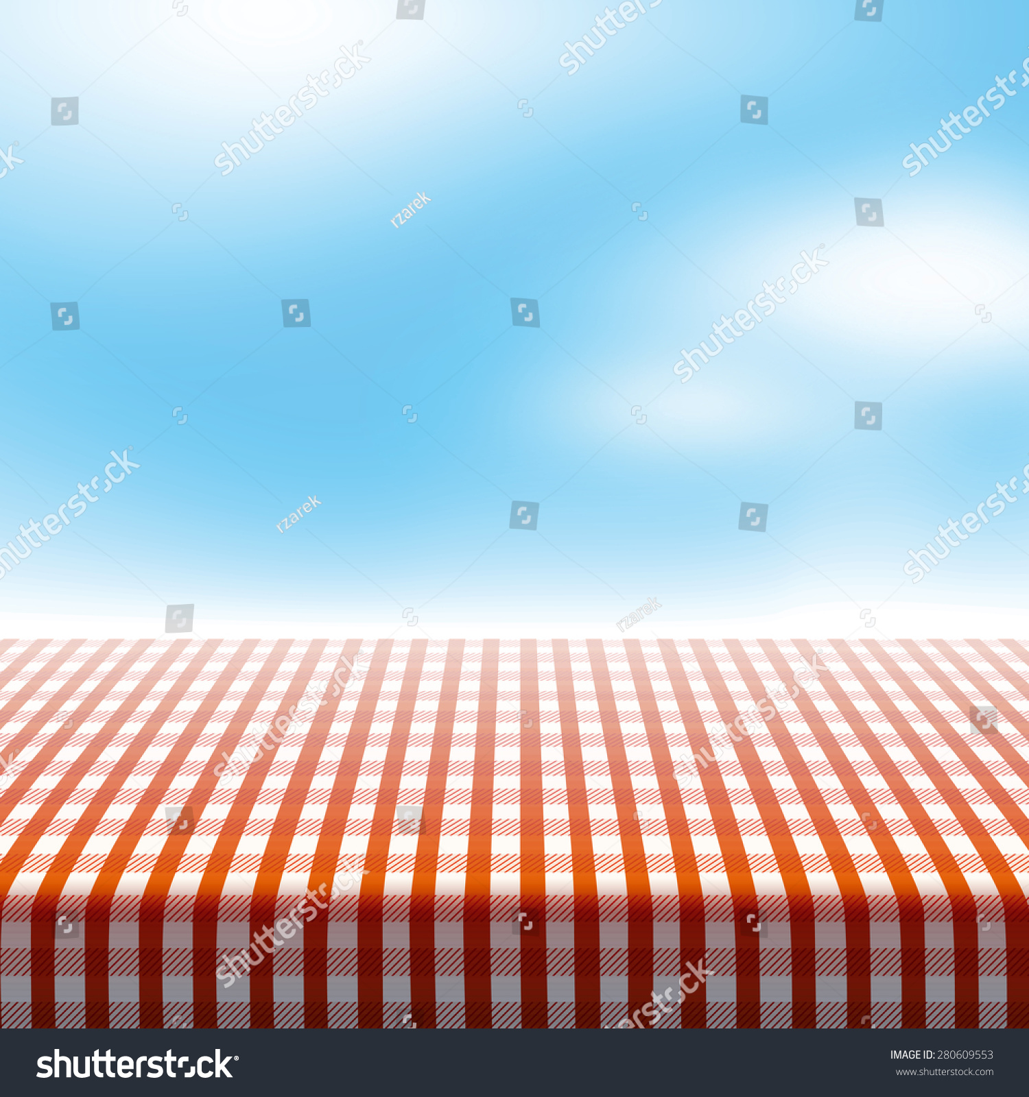 Blue tablecloth background - Vector Picnic Table Covered With Tablecloth On Blue Sky Background With Blurred Clouds