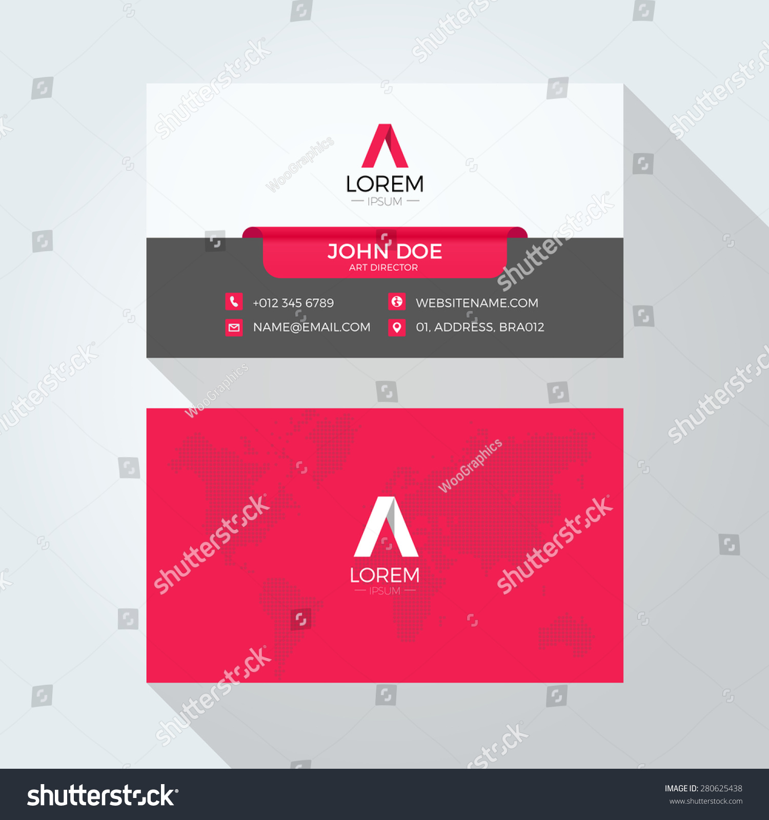 Flat letter logo world map business stock vector 280625438 flat a letter logo world map business card template gumiabroncs Images