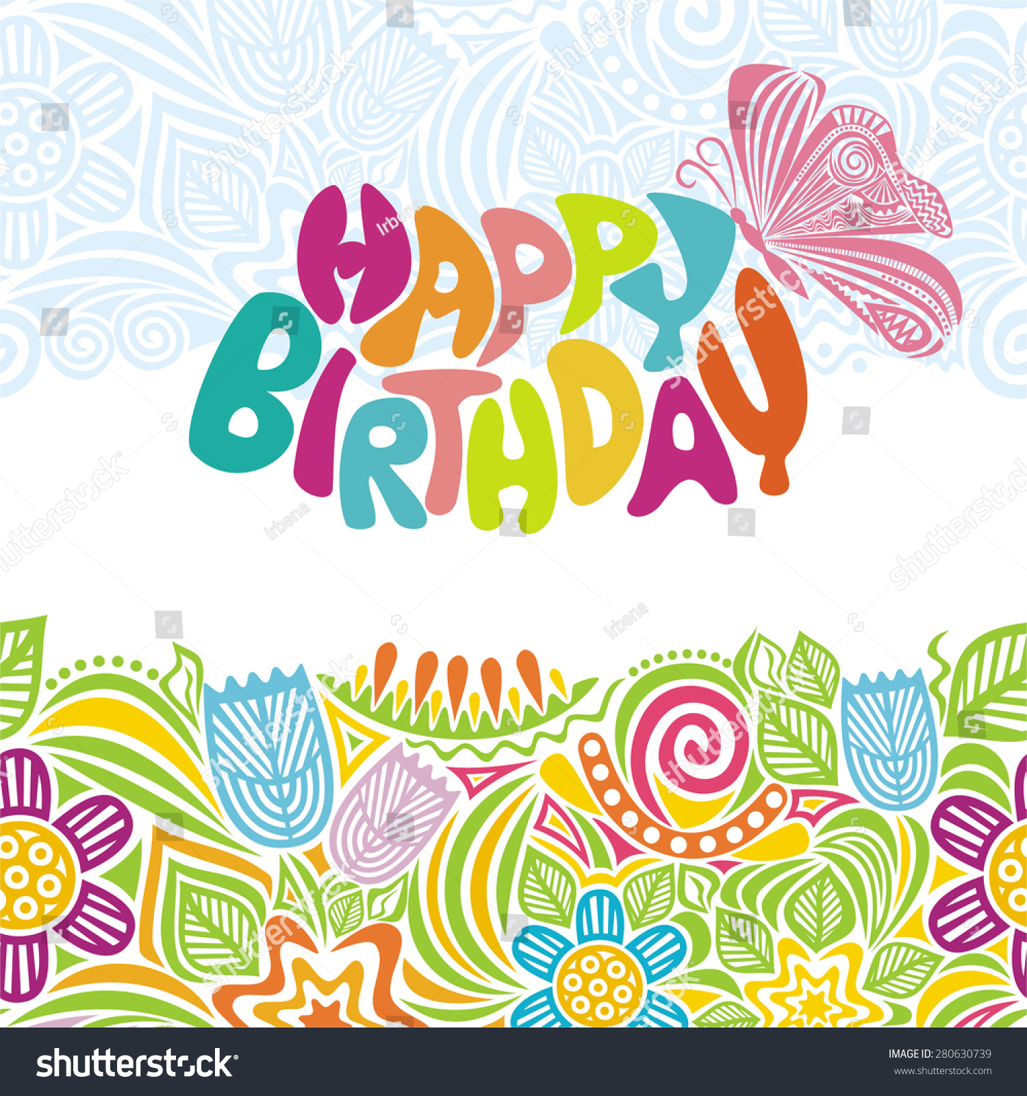 Happy Birthday Greeting Card Beautiful Nature Vector – Nature Birthday Card