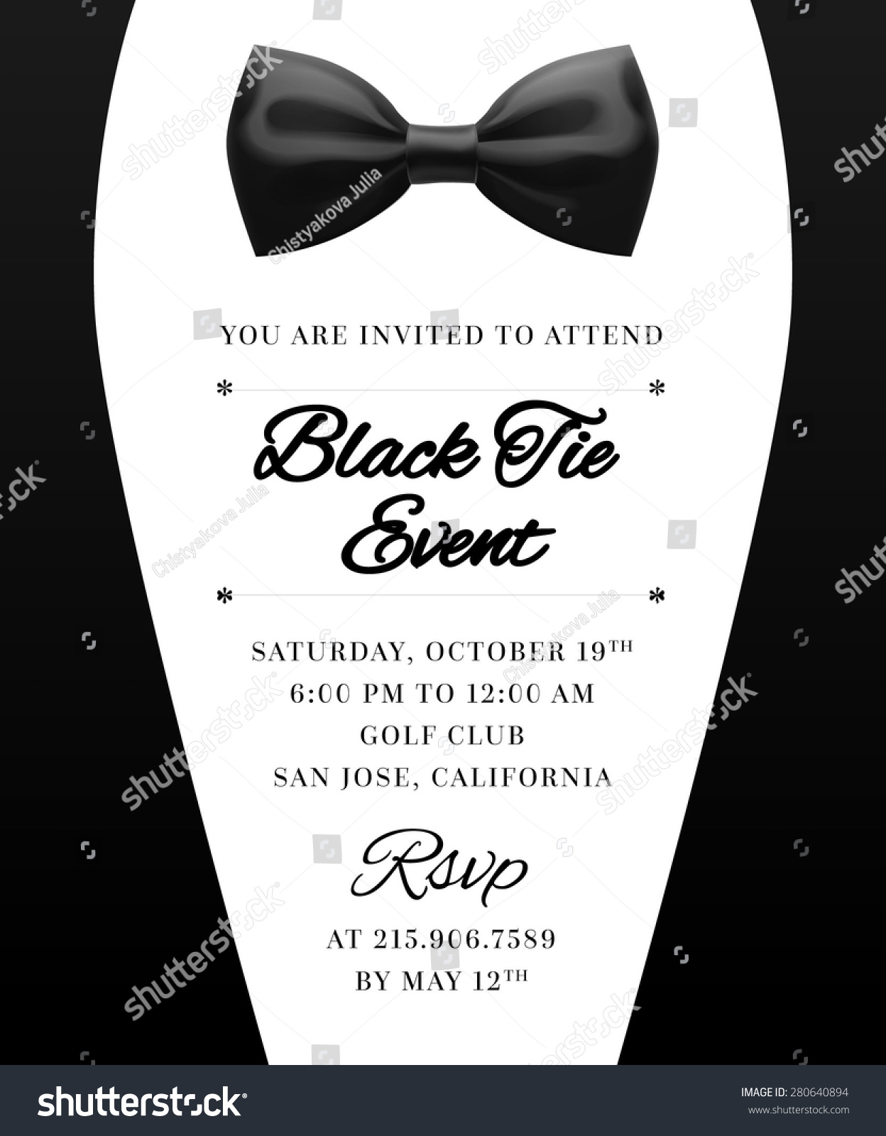 Elegant Vector Black Tie Event Invitation Stock Vector 280640894 - Shutterstock