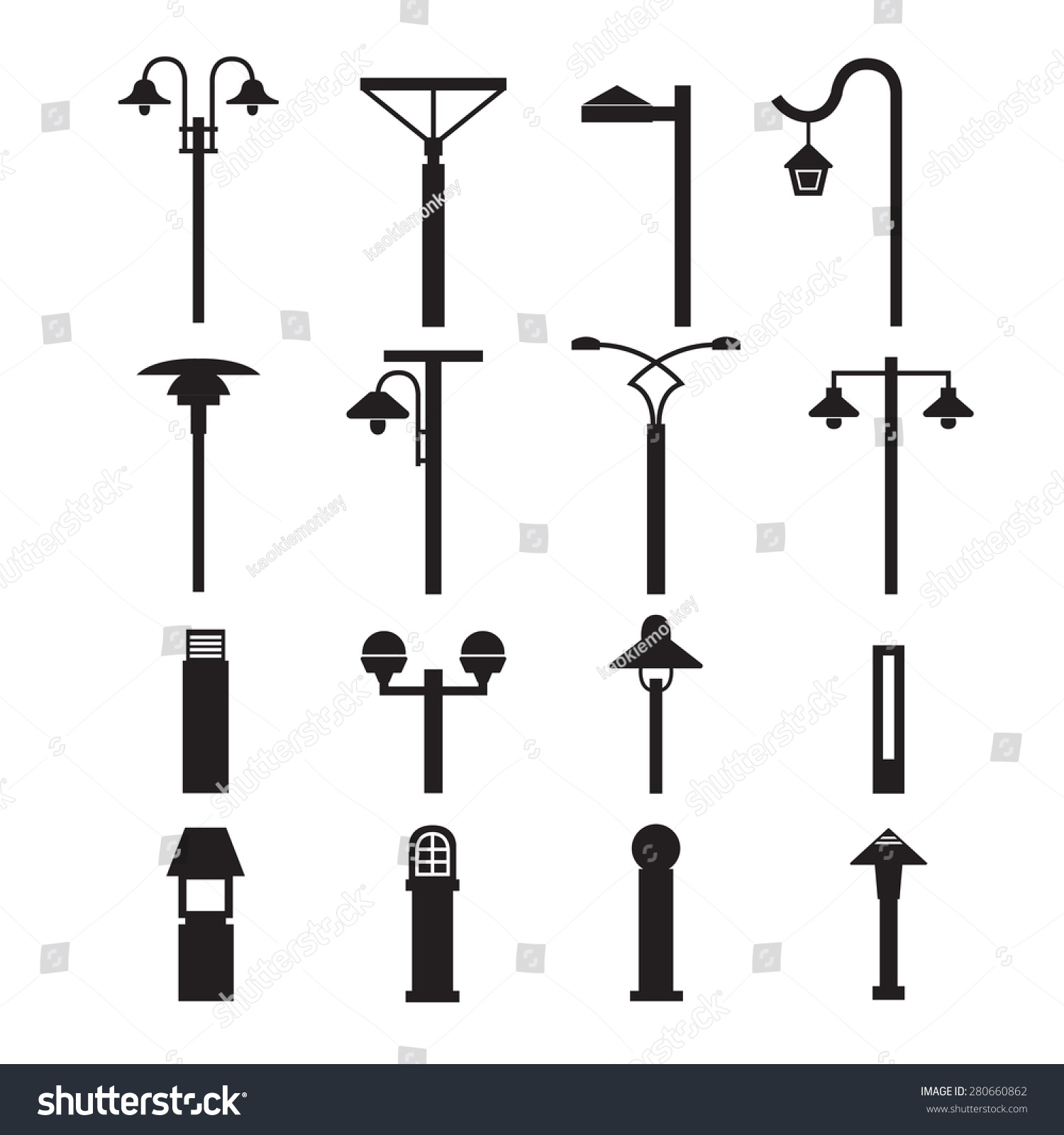 Street Lights And Outdoor Lamps Set