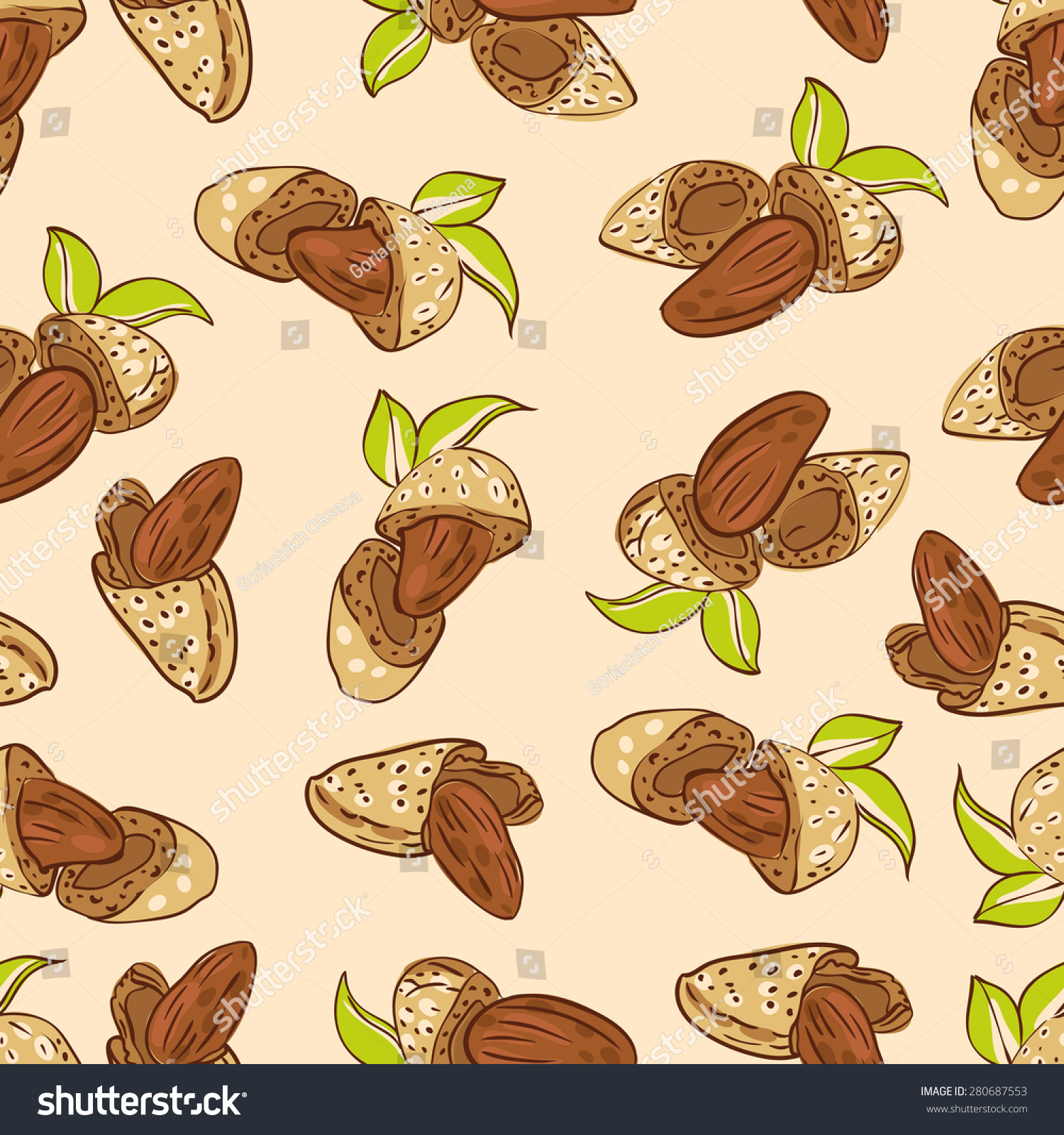 vector seamless wallpaper almond nuts different stock vector