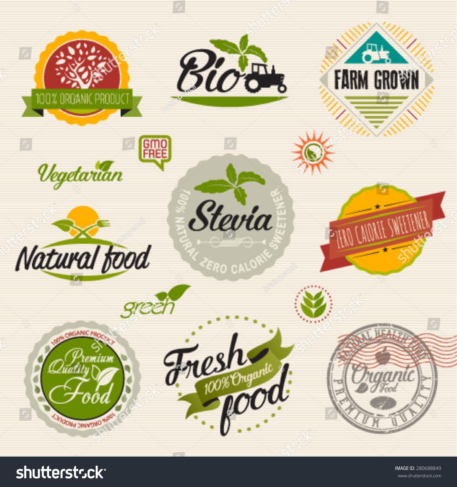 Stevia Organic Food Label Set Farm Stock Vector 280688849