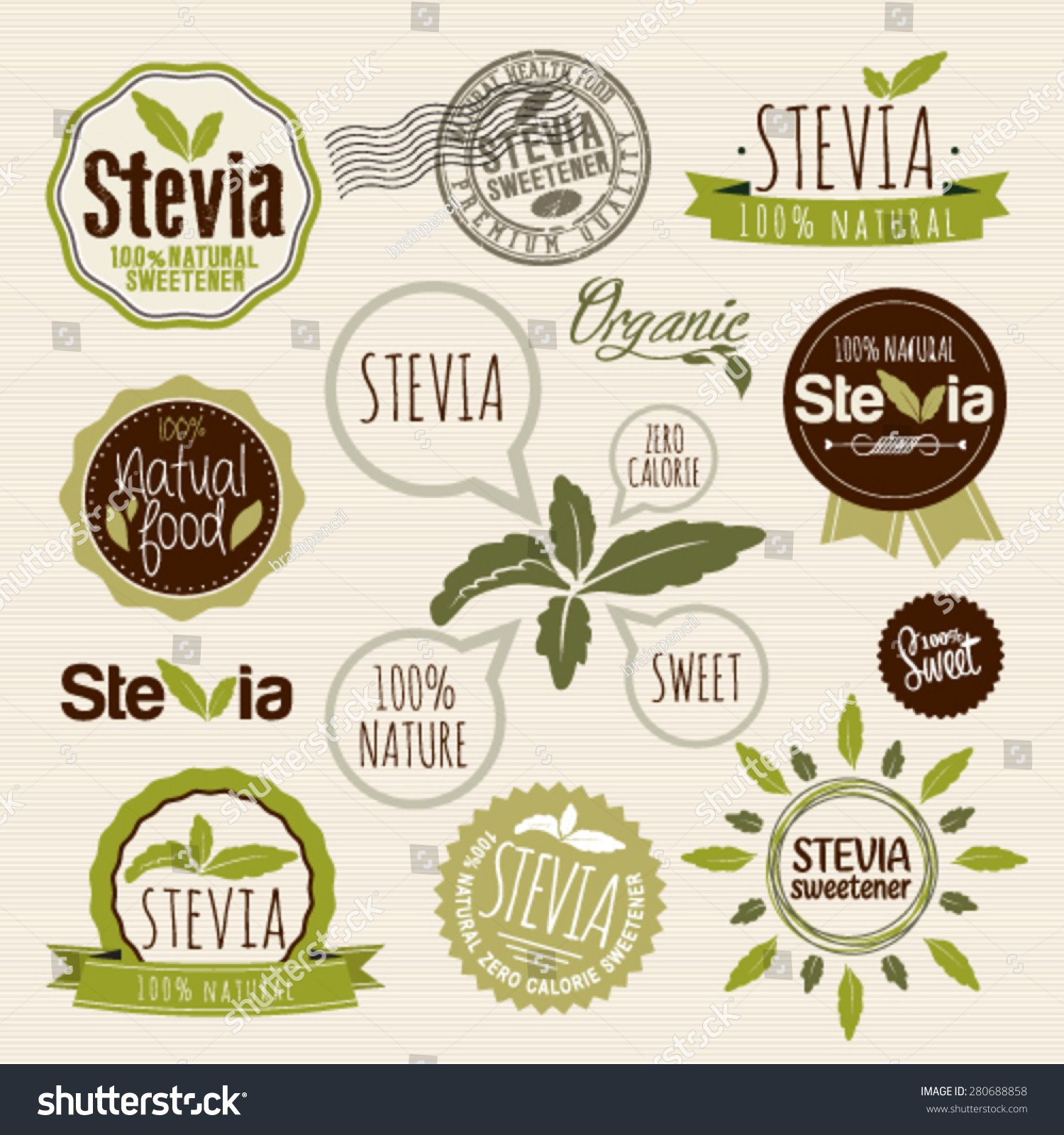 Stevia Organic Food Label Set Farm Stock Vector 280688858