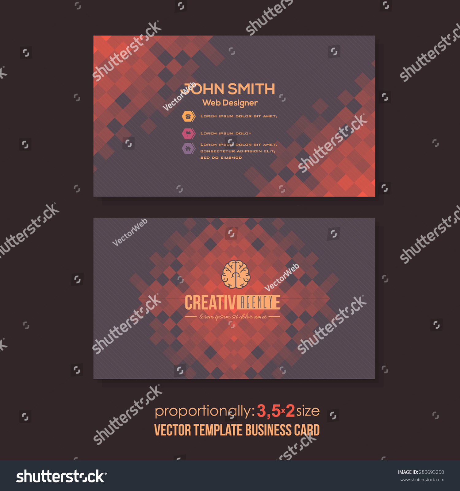 Red Colors Dark Background Abstract Squares Stock Vector