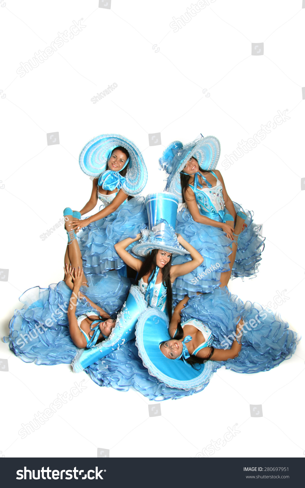 Royalty Free Beautiful Woman In Blue Carnival 280697951 Stock
