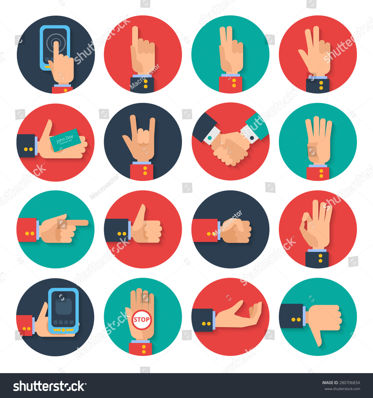 Body Language Hand Gestures Icons Tablet Stock Vector 280706834 ...