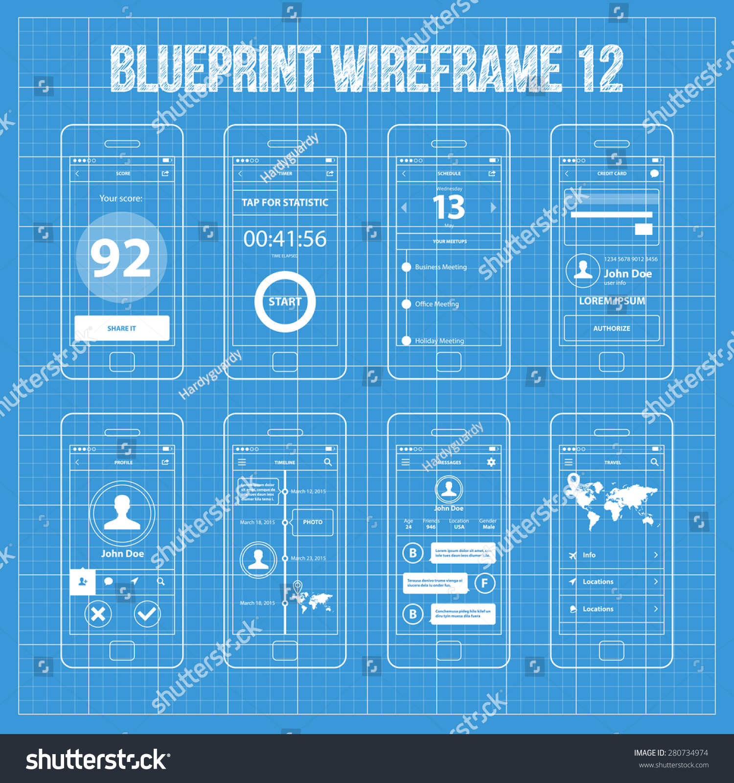 Royalty free mobile app wireframe blueprint ui kit 280734974 stock mobile app wireframe blueprint ui kit 12 score screen timer screen schedule screen malvernweather Images