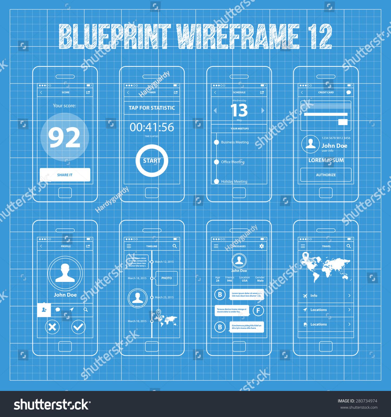Mobile app wireframe blueprint ui kit stock vector for App for blueprints