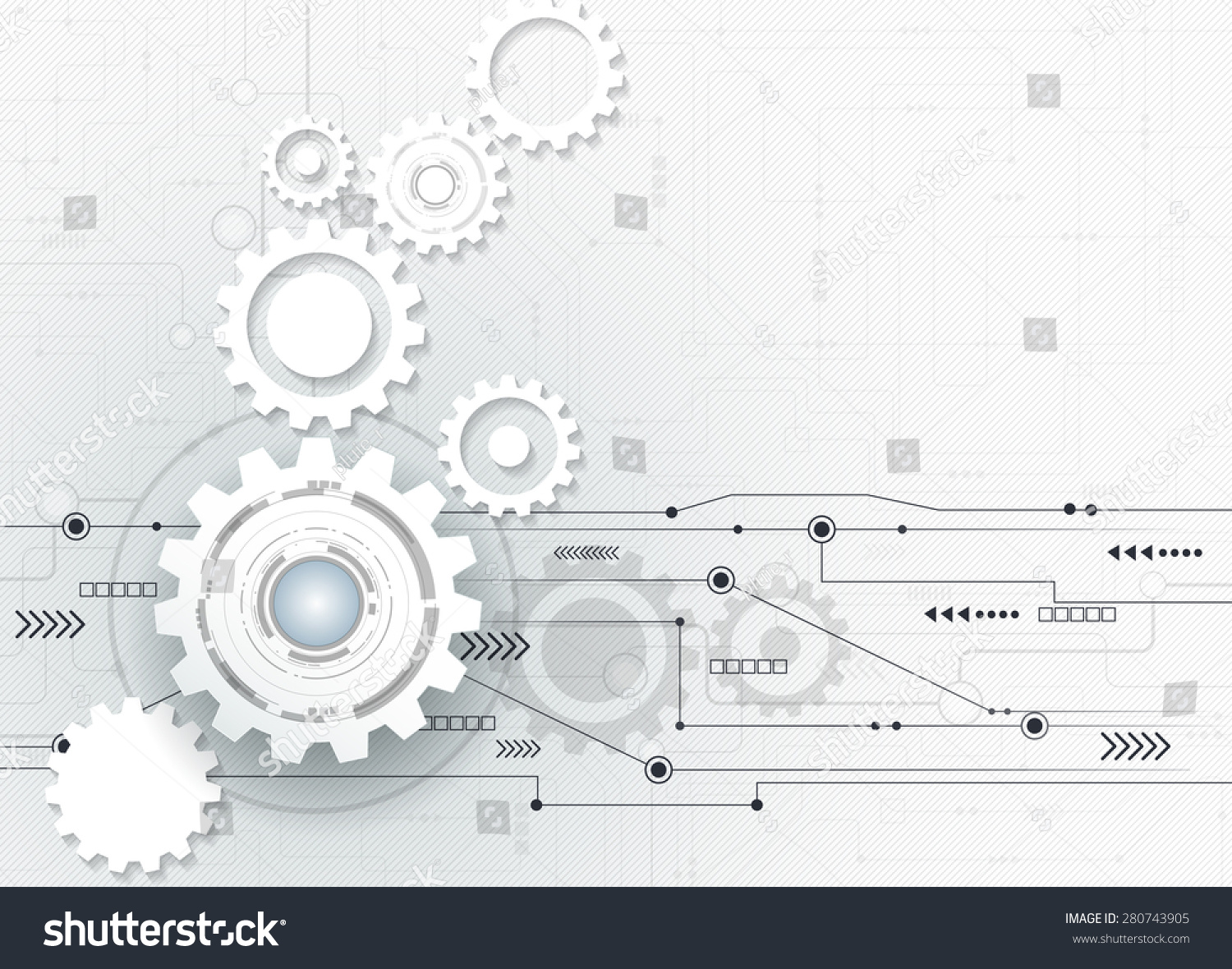 Royalty Free Vector Illustration Abstract Futuristic 280743905 Circuit Board Stock Image Futuristic3d White Paper Gear Wheel On High Computer
