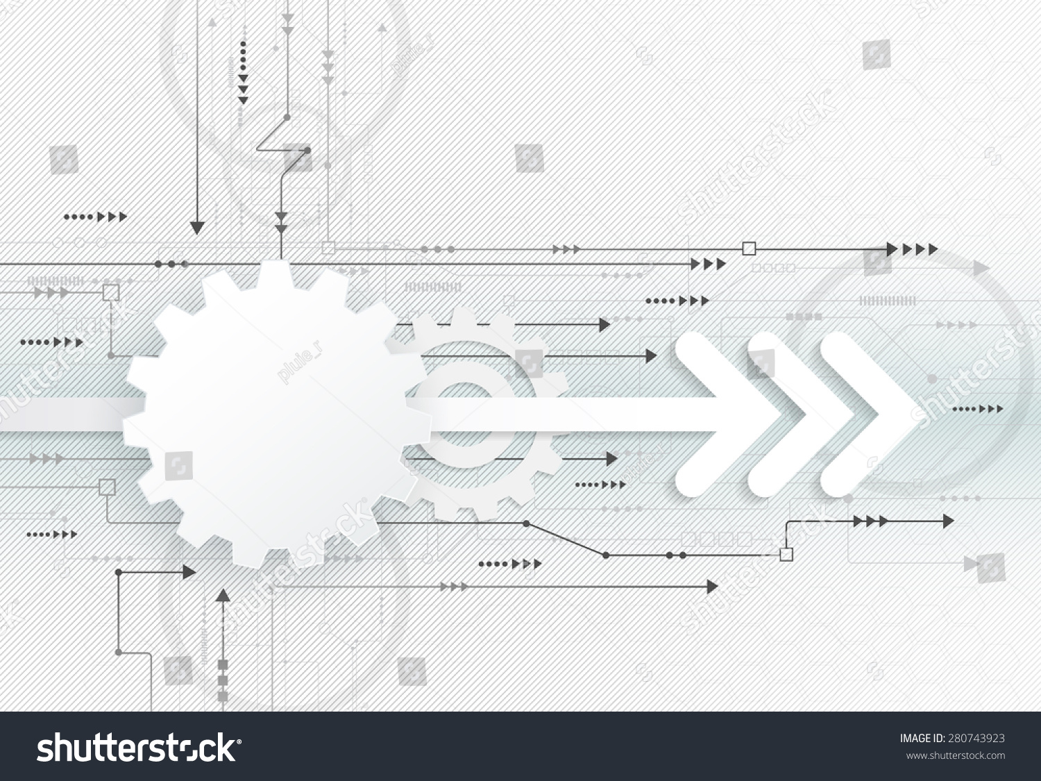 Royalty Free Vector Abstract Futuristic 3d White 280743923 Stock Engineering Schematic Symbols Get Image About Wiring Diagram Paper Gear Wheel With Arrow Symbol On Circuit Board High Computer Speed Technology Concept