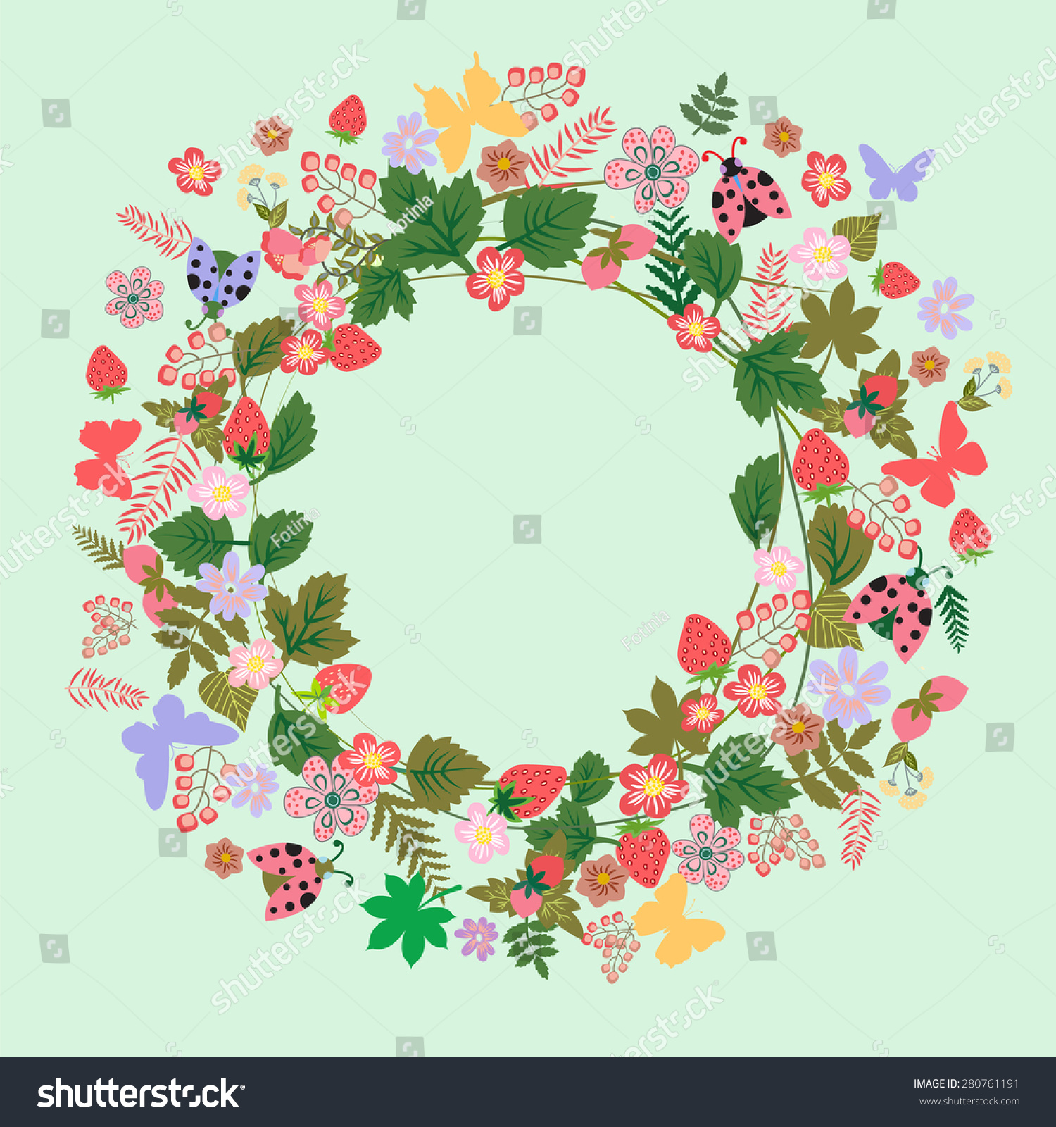 vector vintage round frame flower butterfly stock vector 280761191