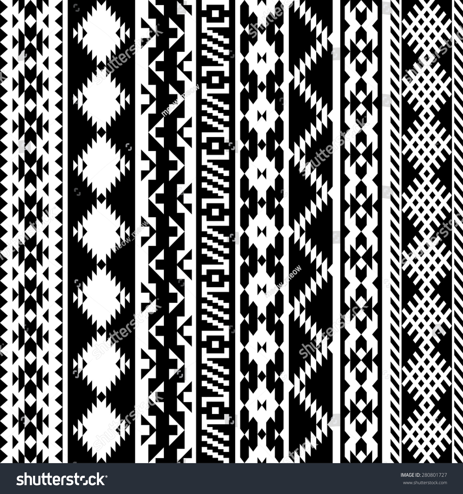 Black White Tribal Navajo Seamless Pattern Stock Vector ...