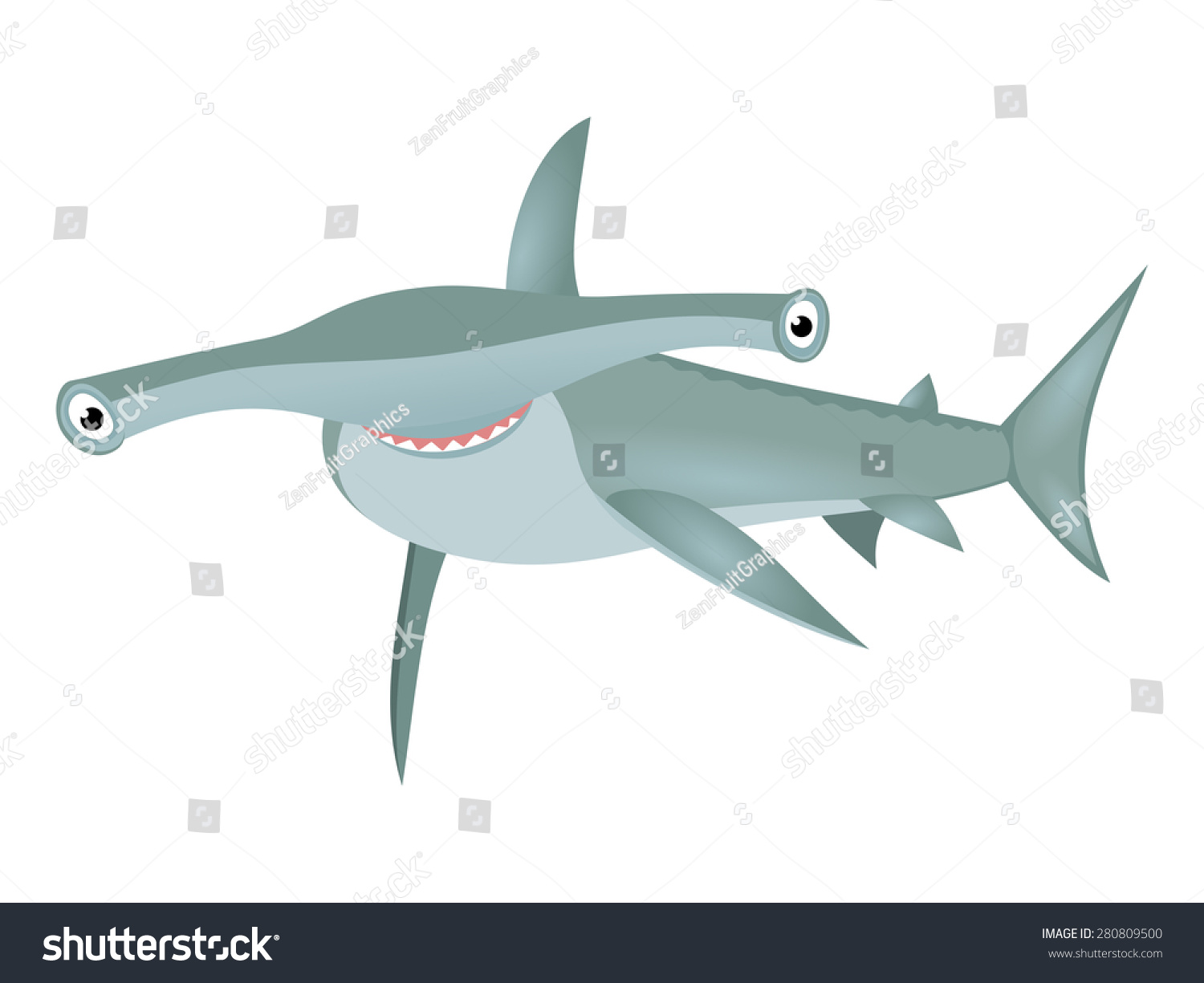 smiling hammerhead shark big bizarre fish stock vector 280809500