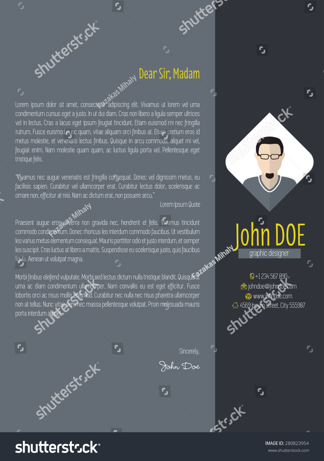 Modern Cover Letter Design With Dark Background