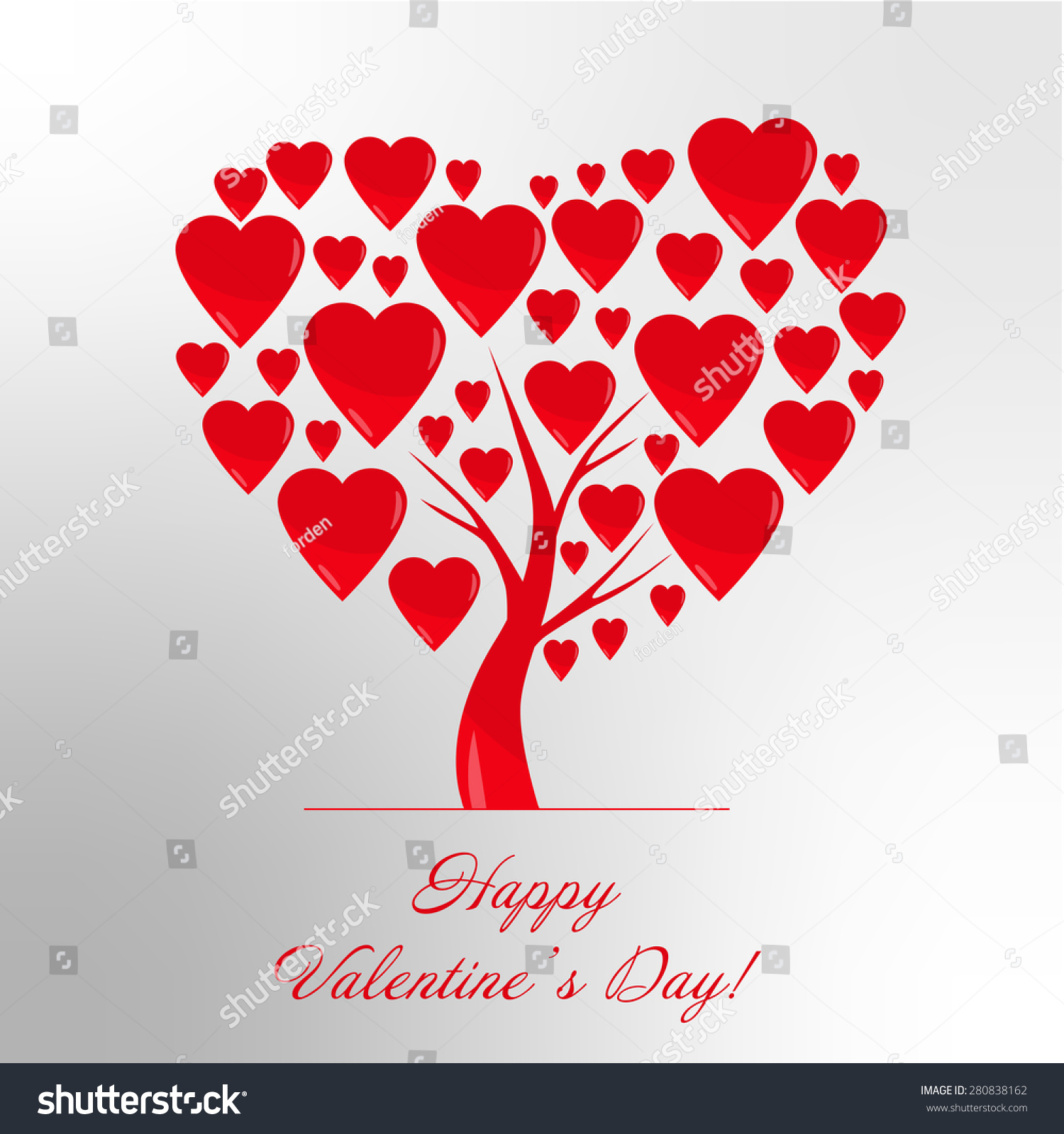 Greeting card words happy valentines day stock illustration greeting card with the words happy valentines day and heart tree with heart raster illustration kristyandbryce Images