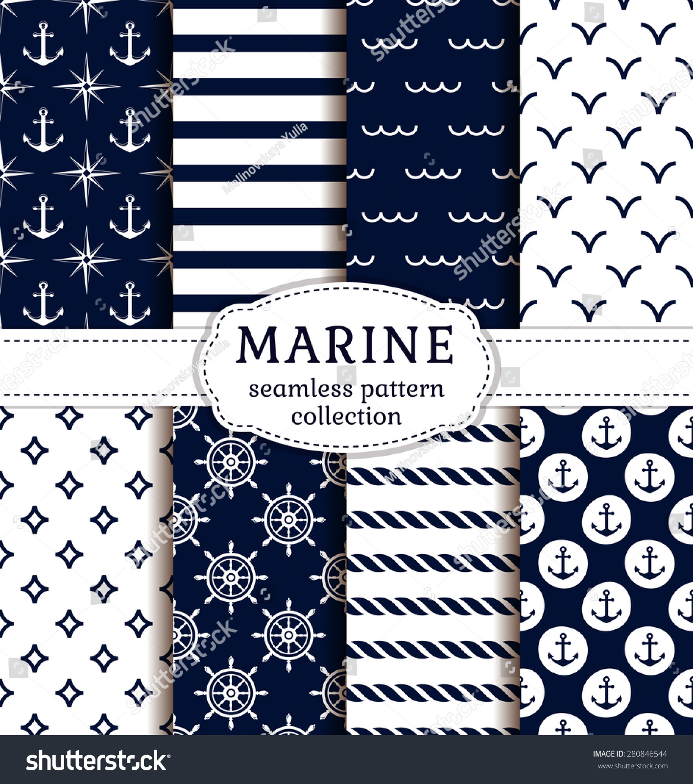 set sea nautical backgrounds dark blue stock vector royalty free