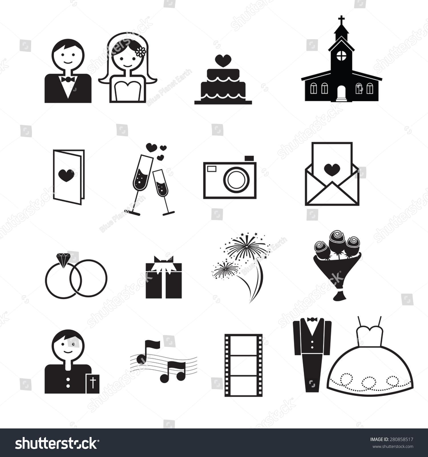 Wedding Ceremony Icons Set Vector Stock Vector 280858517
