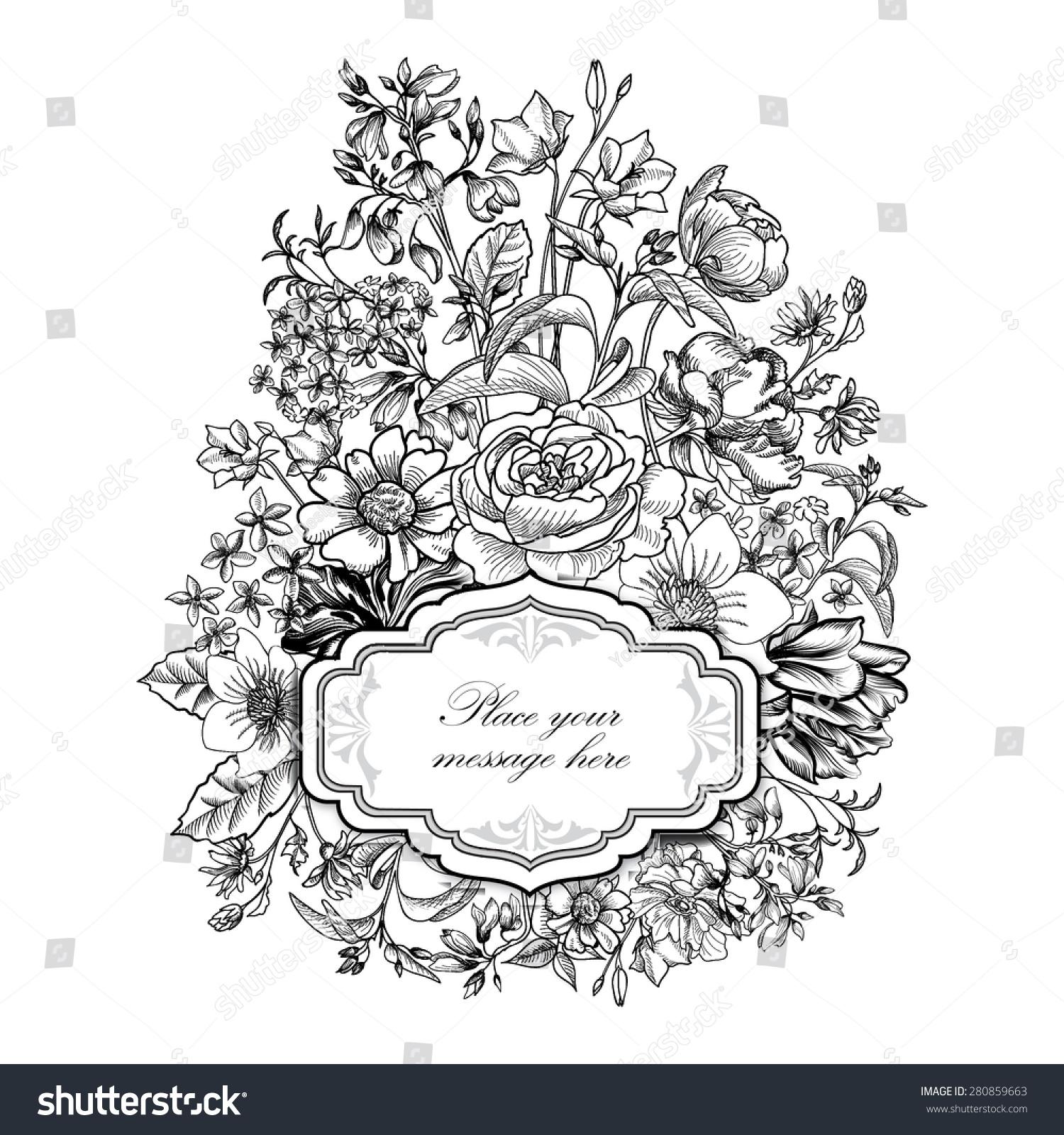 Vintage Floral Border Flourish Background Victorian Style Invitation 280859663