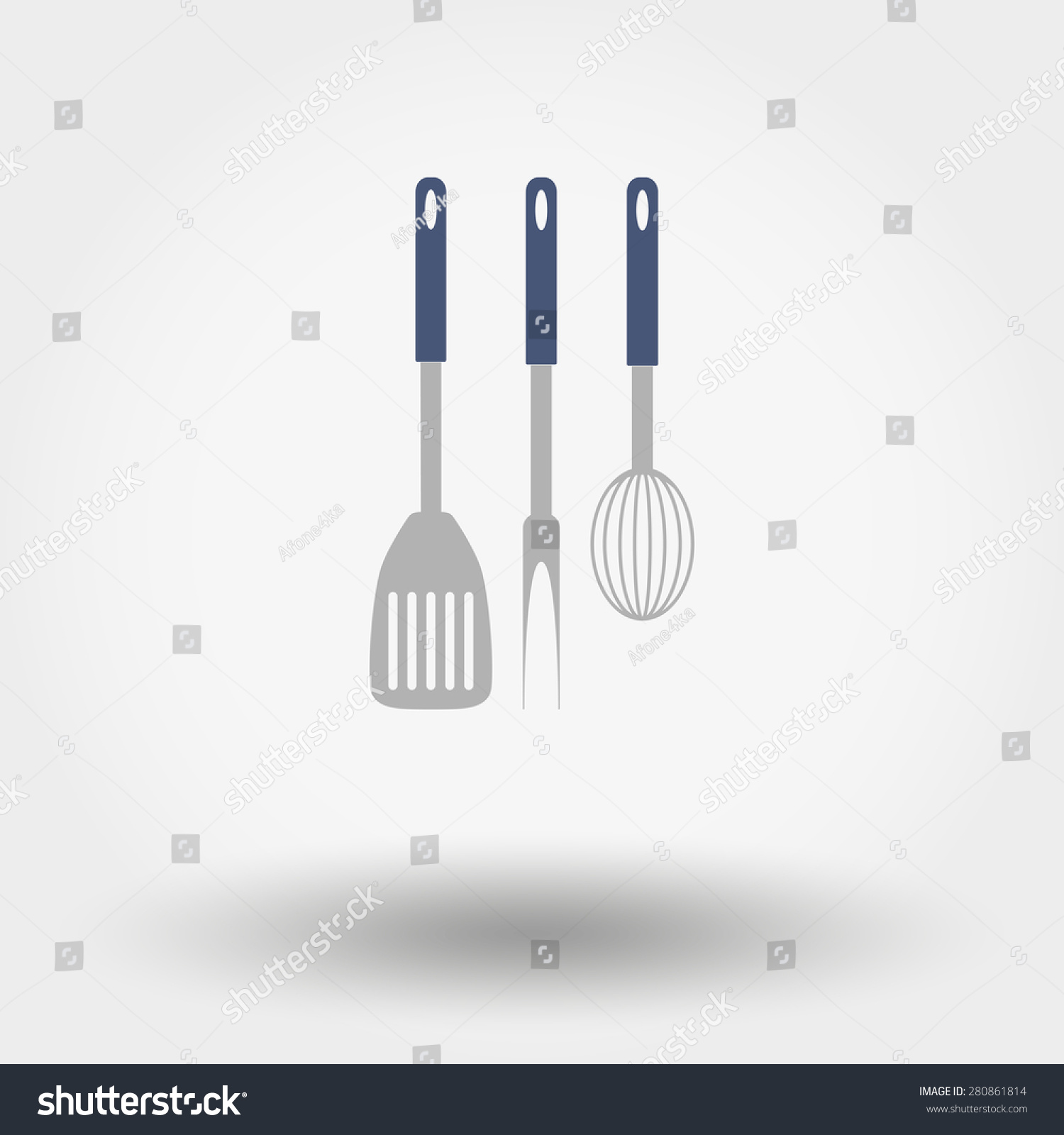 Set Of Web Icon Kitchen Tools. Vector Illustration On A White Background.  Flat Design Part 36