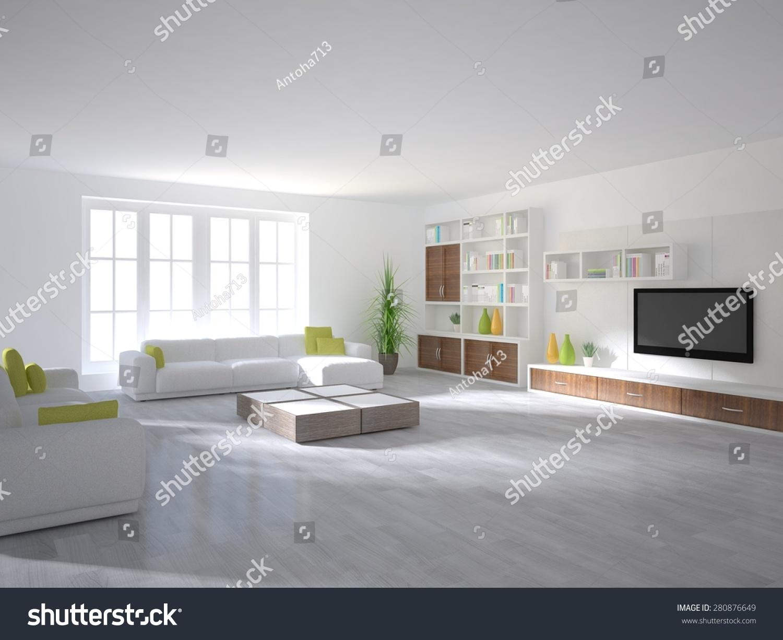 White interior design modern house 3d stock illustration 280876649 shutterstock - White interior house ...