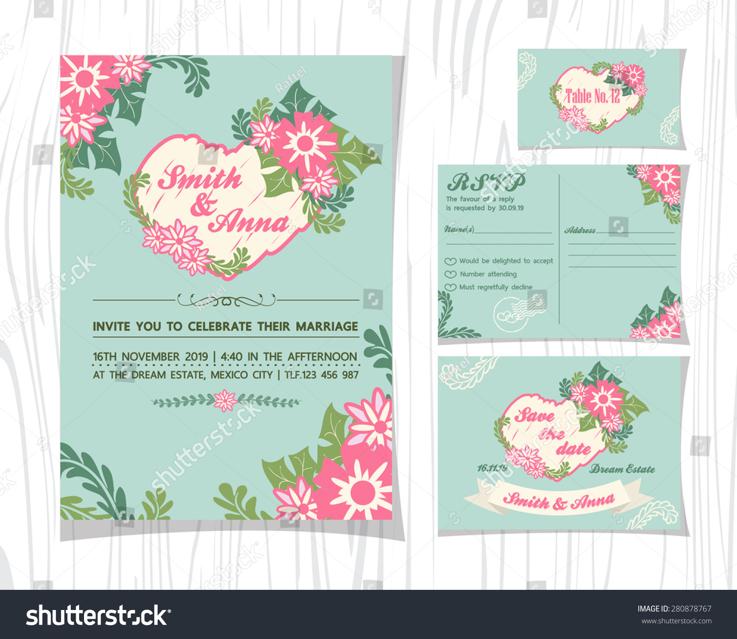 vintage rose tone wedding invitation sets stock vector royalty free