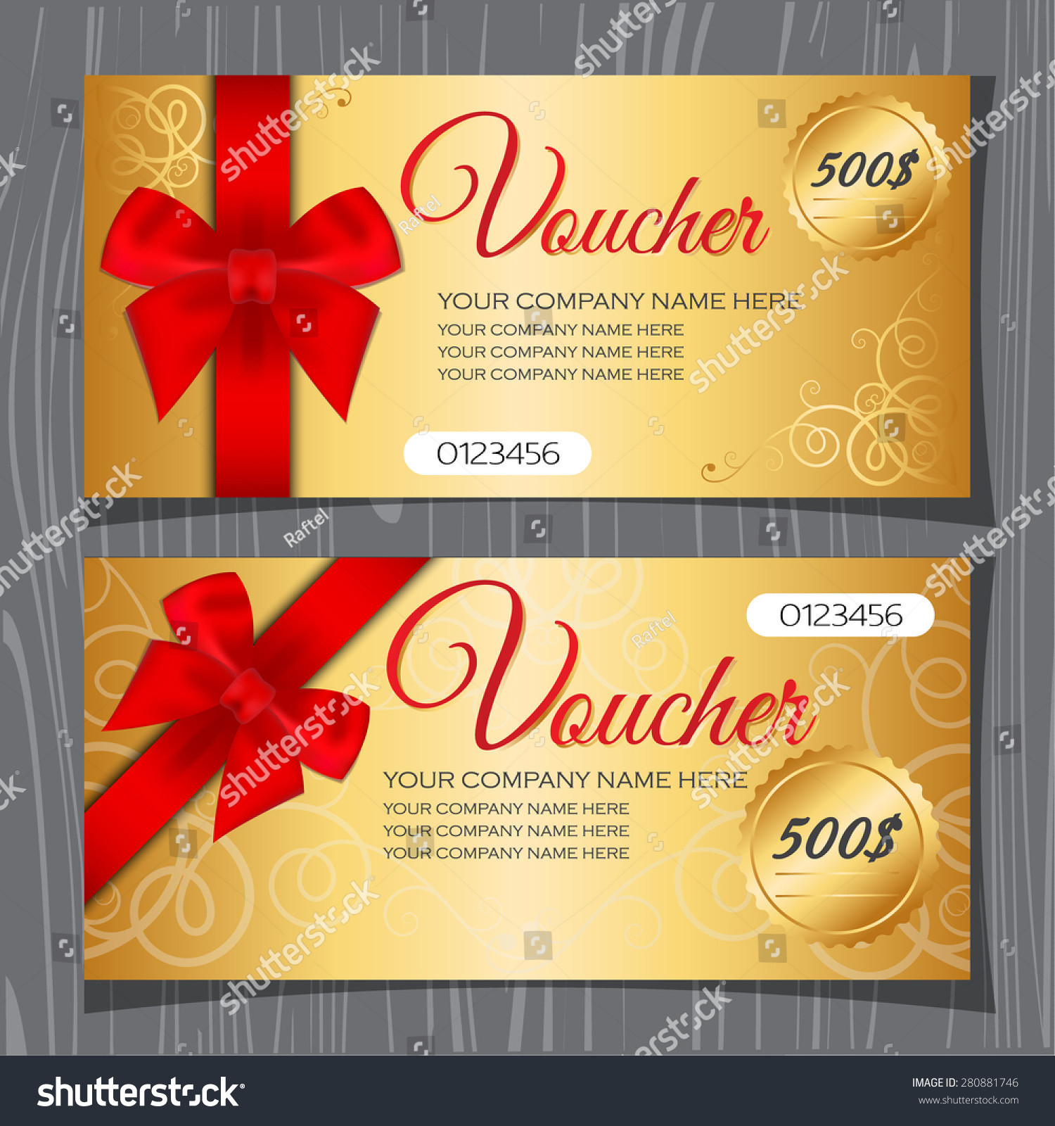 Voucher Template Gift Certificate Coupon Template Stock
