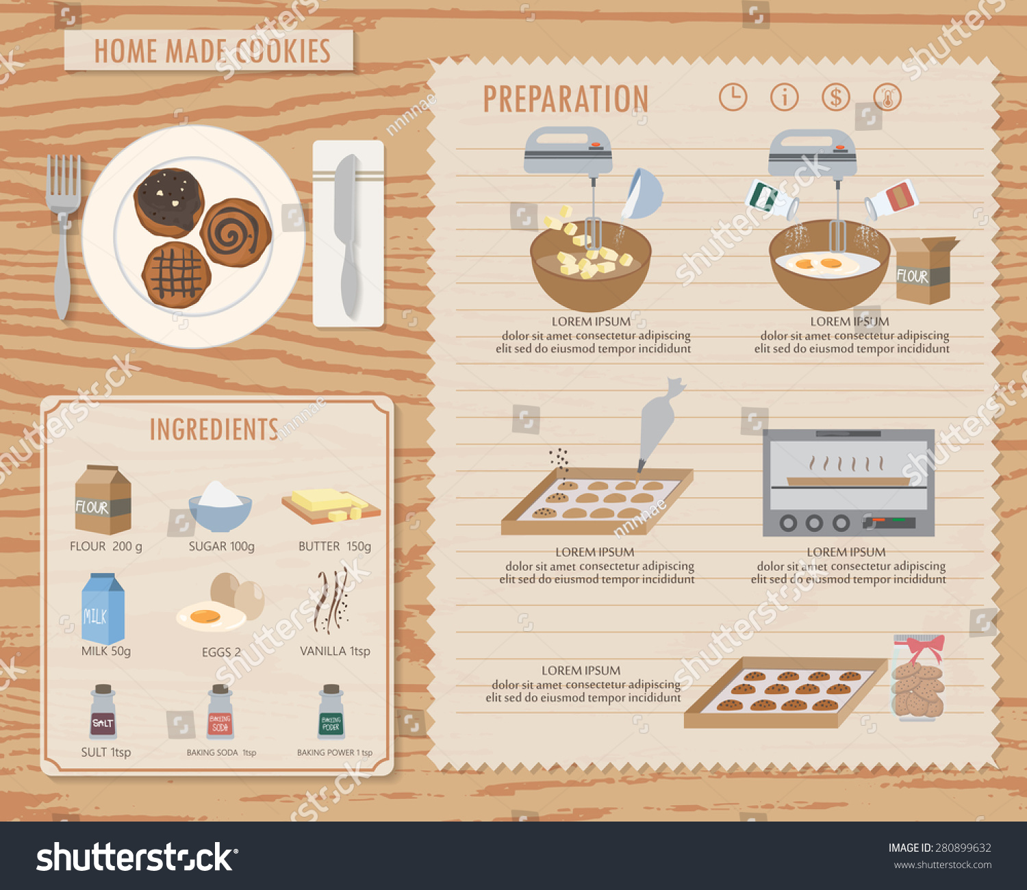 How Make Home Made Cookies Food Stock Vector 280899632