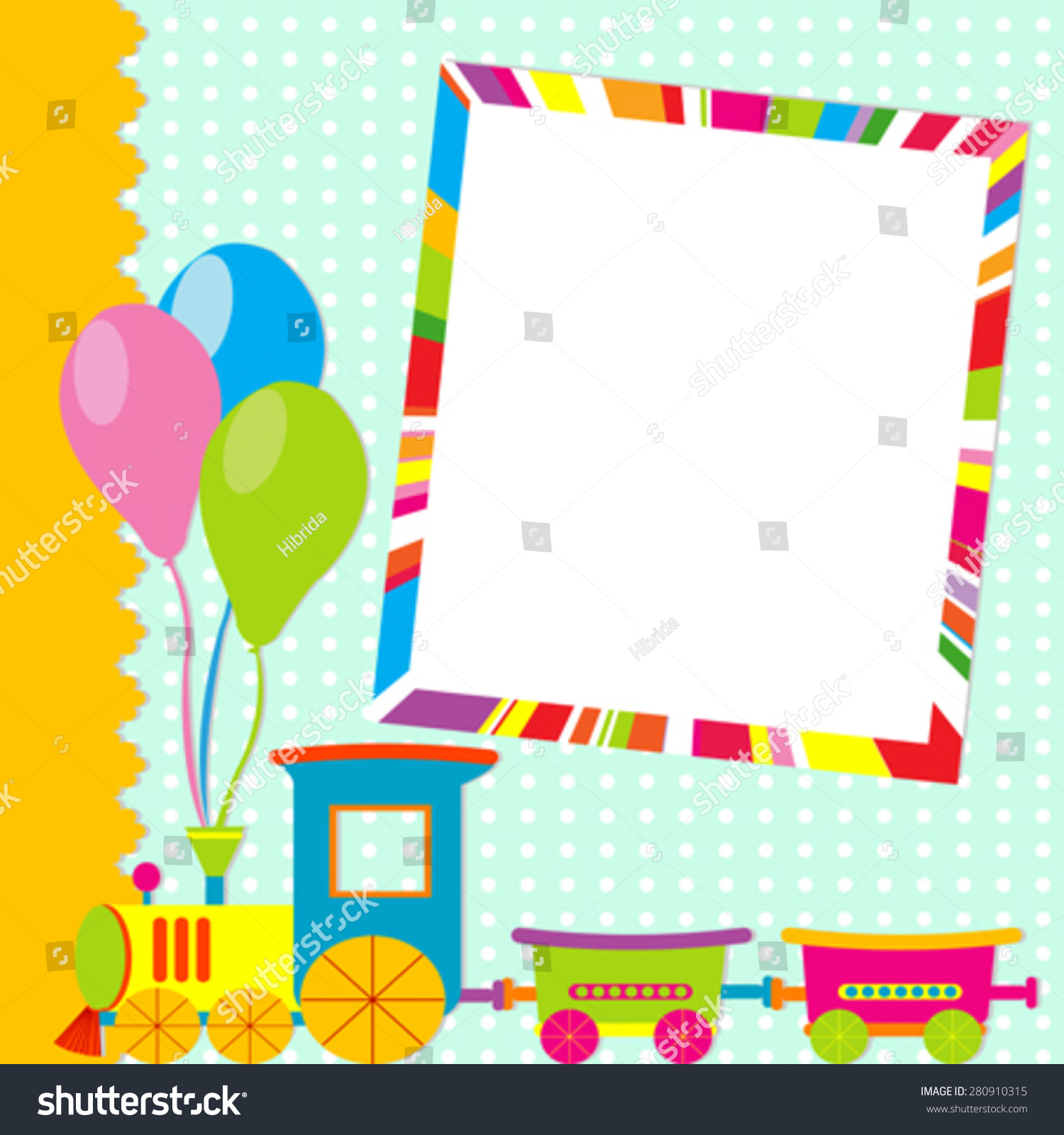 Vector bunting flags lovely celebration card with colorful paper - Greeting Card With Photo Frame And Cartoon Train