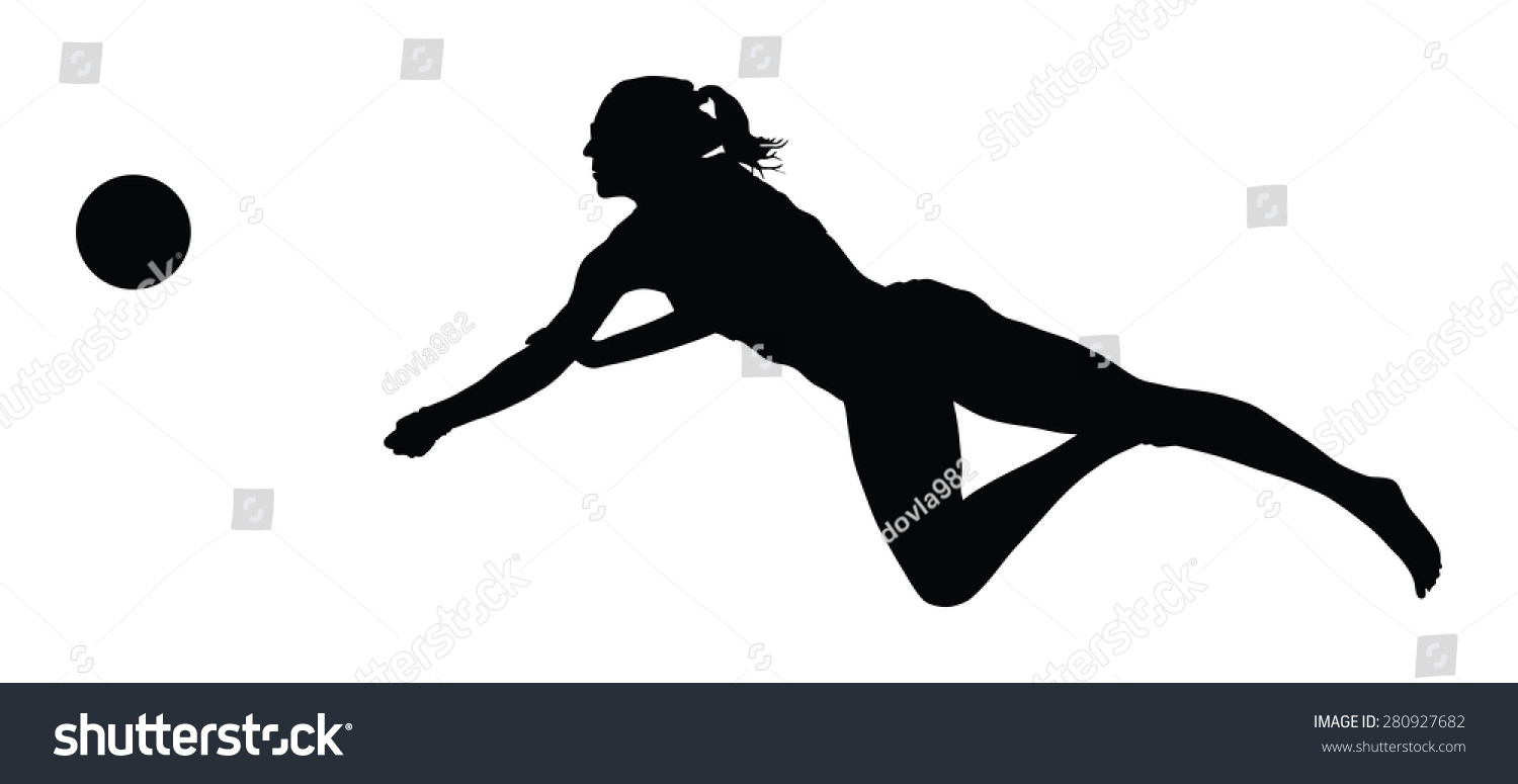 Beach Volleyball Player Vector Silhouette Illustration