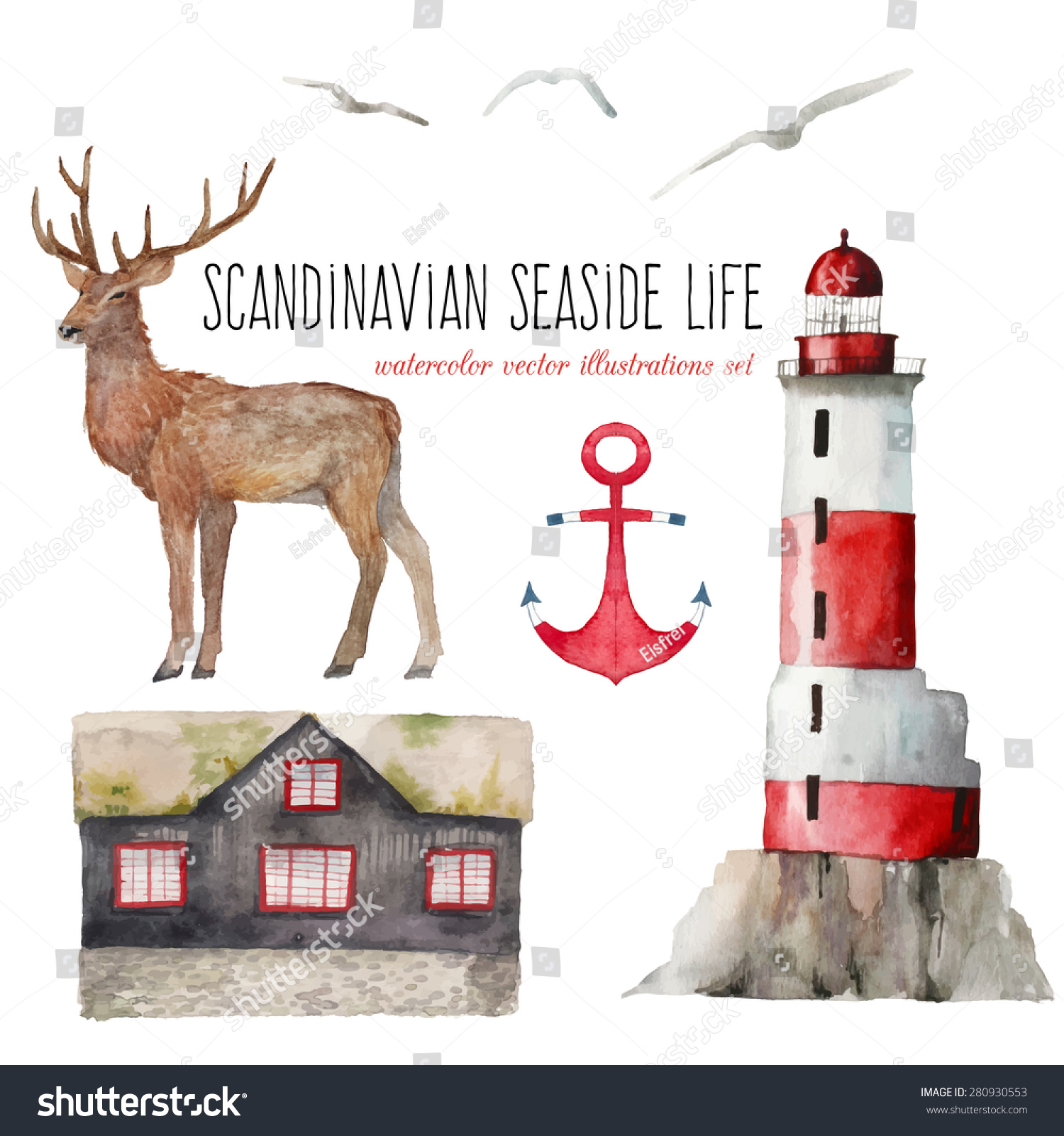 Watercolor scandinavian seaside life set hand stock vector 280930553 shutterstock - Scandinavian homes the charm of the north ...