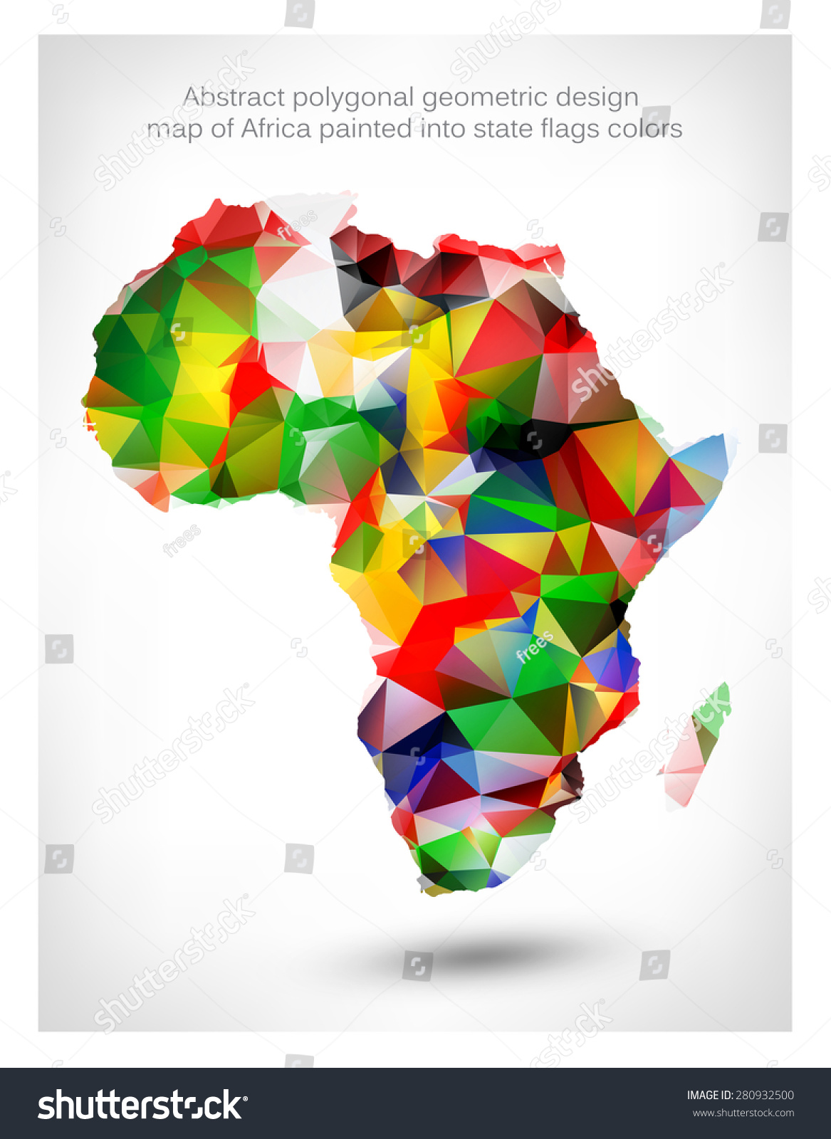 Abstract polygonal geometric design map africa stock vector abstract polygonal geometric design map of africa painted into state flags colors gumiabroncs Gallery