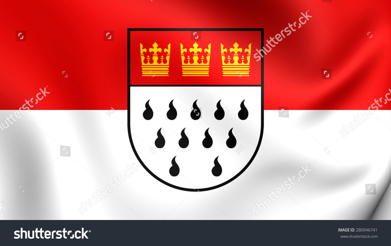 3d Flag Cologne Germany Close Stock Illustration 280946741