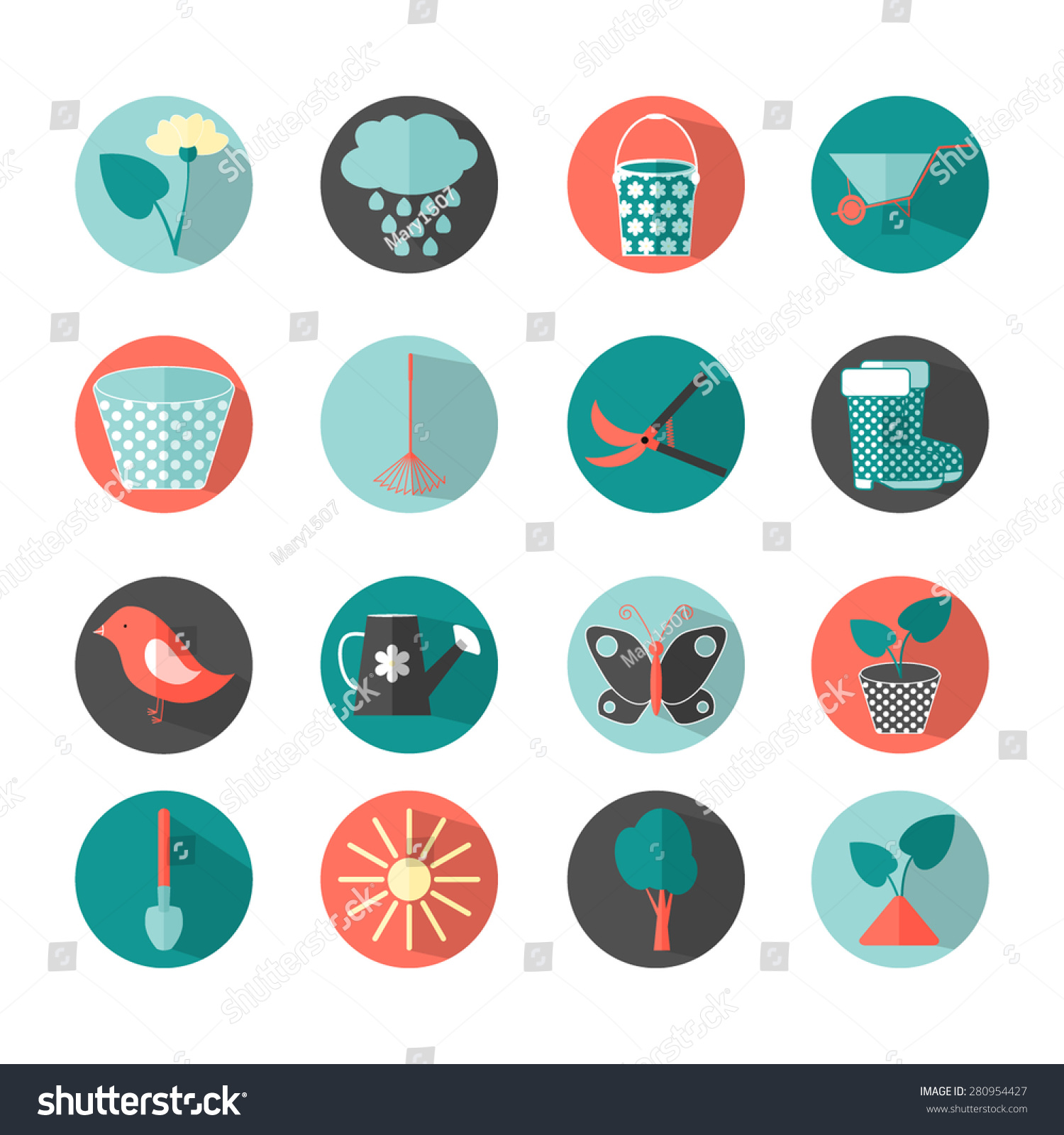Flat icons set vector garden object stock vector 280954427 for Landscape design icons