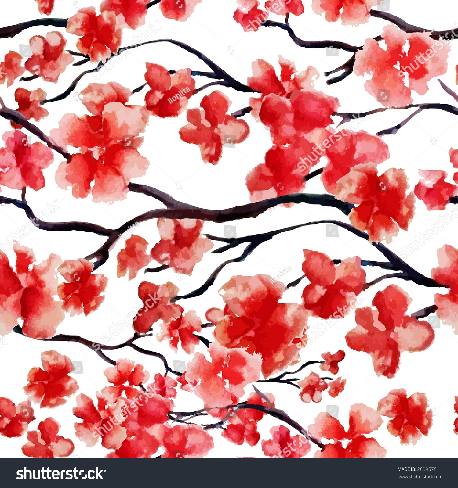 Japanese Cherry Blossom Sakura Tree Seamless Stock Vector ...
