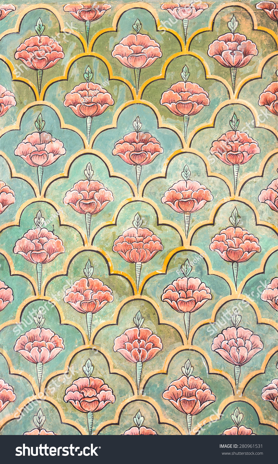 Mughal wall paintings jaipur city palace stock photo for Wallpaper for home walls jaipur