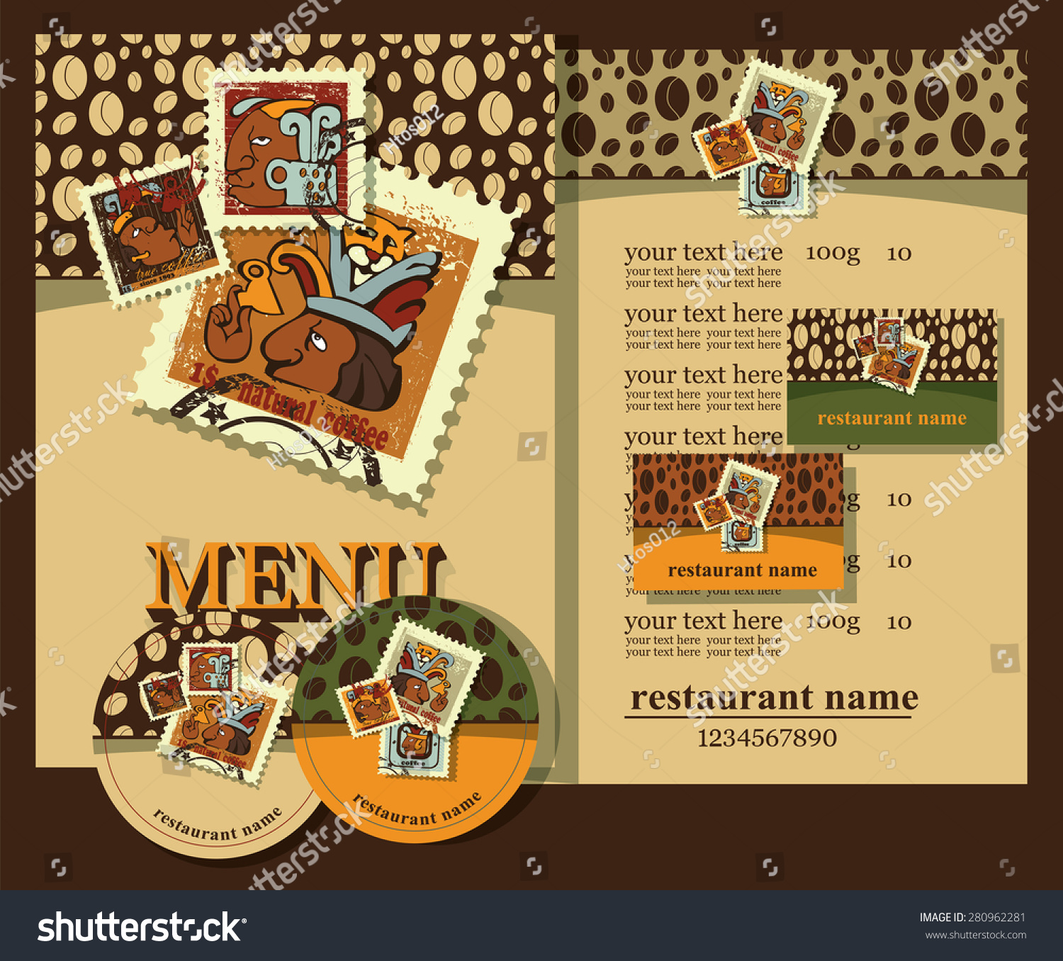 Set Contains Templates Business Cardscoasters Cupsmenu Stock Vector ...