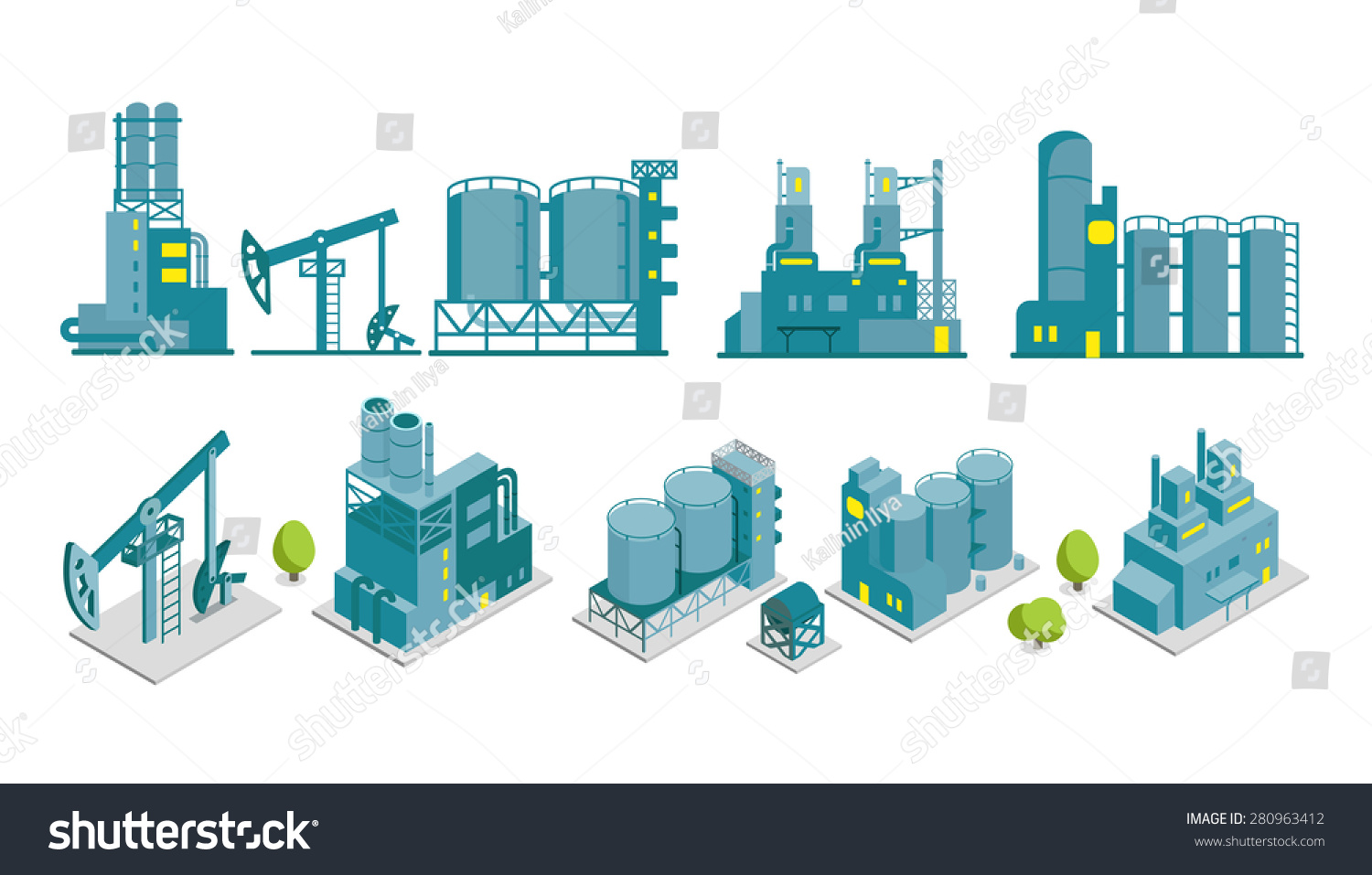 Set isometric end 2d flat factory stock vector 280963412 for Production builder