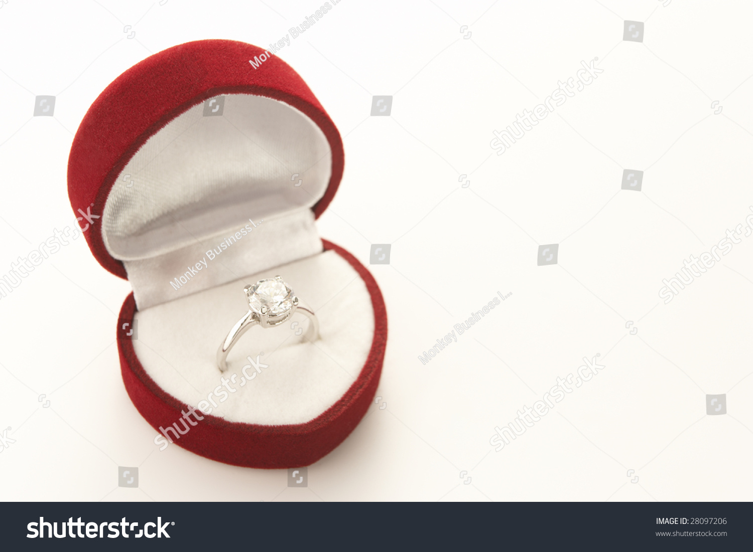 Diamond engagement in heart shaped ring box stock photo for Heart shaped engagement ring box