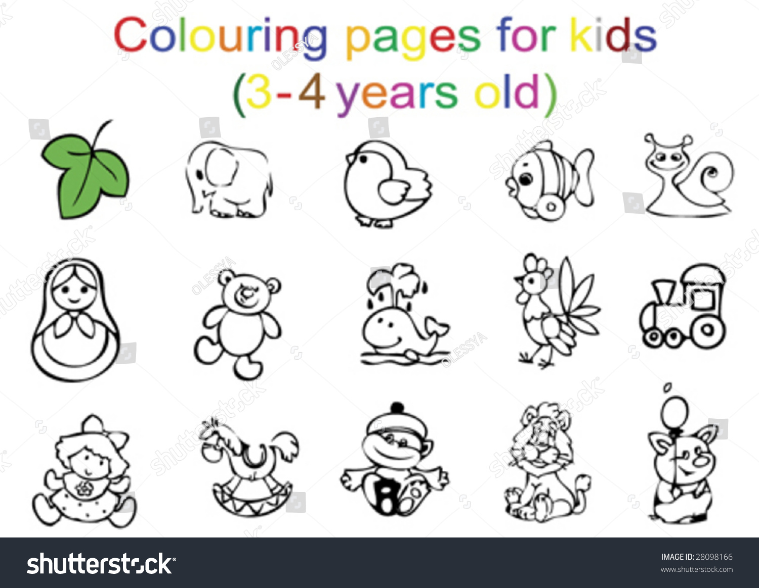 Colouring Pages Kids 34 Years Old Stock Vector 28098166 - Shutterstock