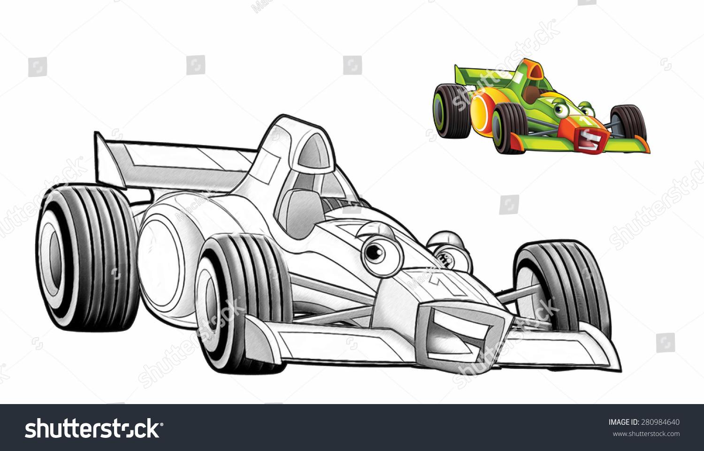 Cartoon Car Racing Vehicle Coloring Page Stock Illustration