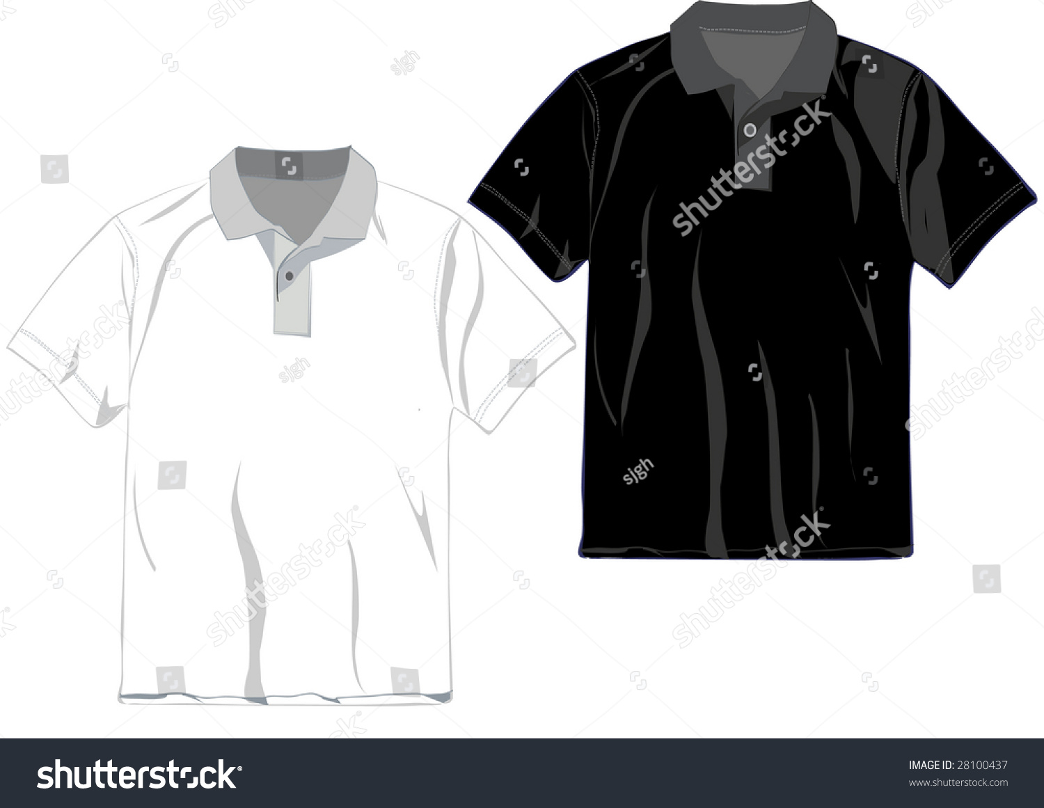 White and black polo t shirt design template stock photo for Shutterstock t shirt design