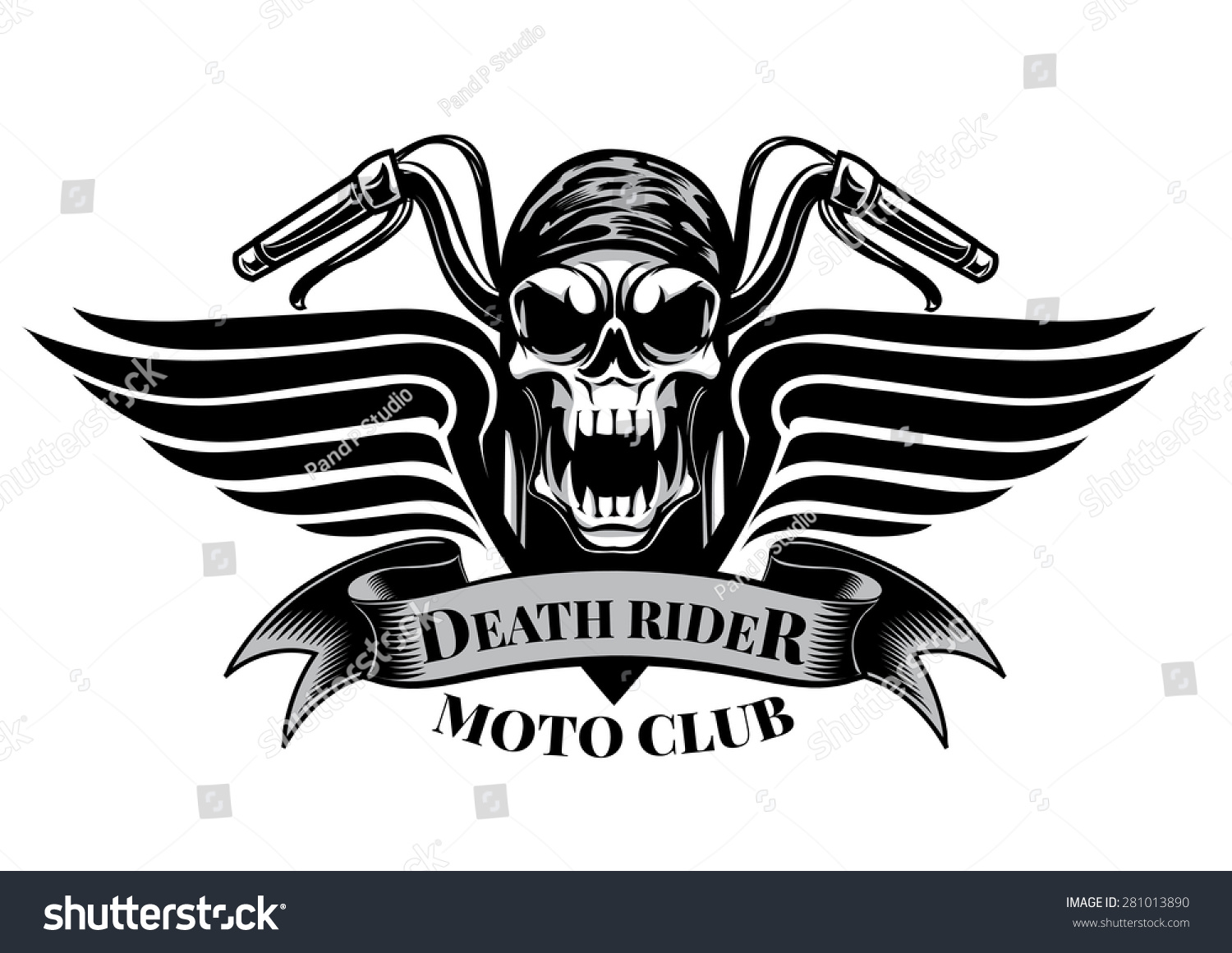 Design a bike sticker - Motor Racing Skulls Graphic Design Logo Sticker Label Arm