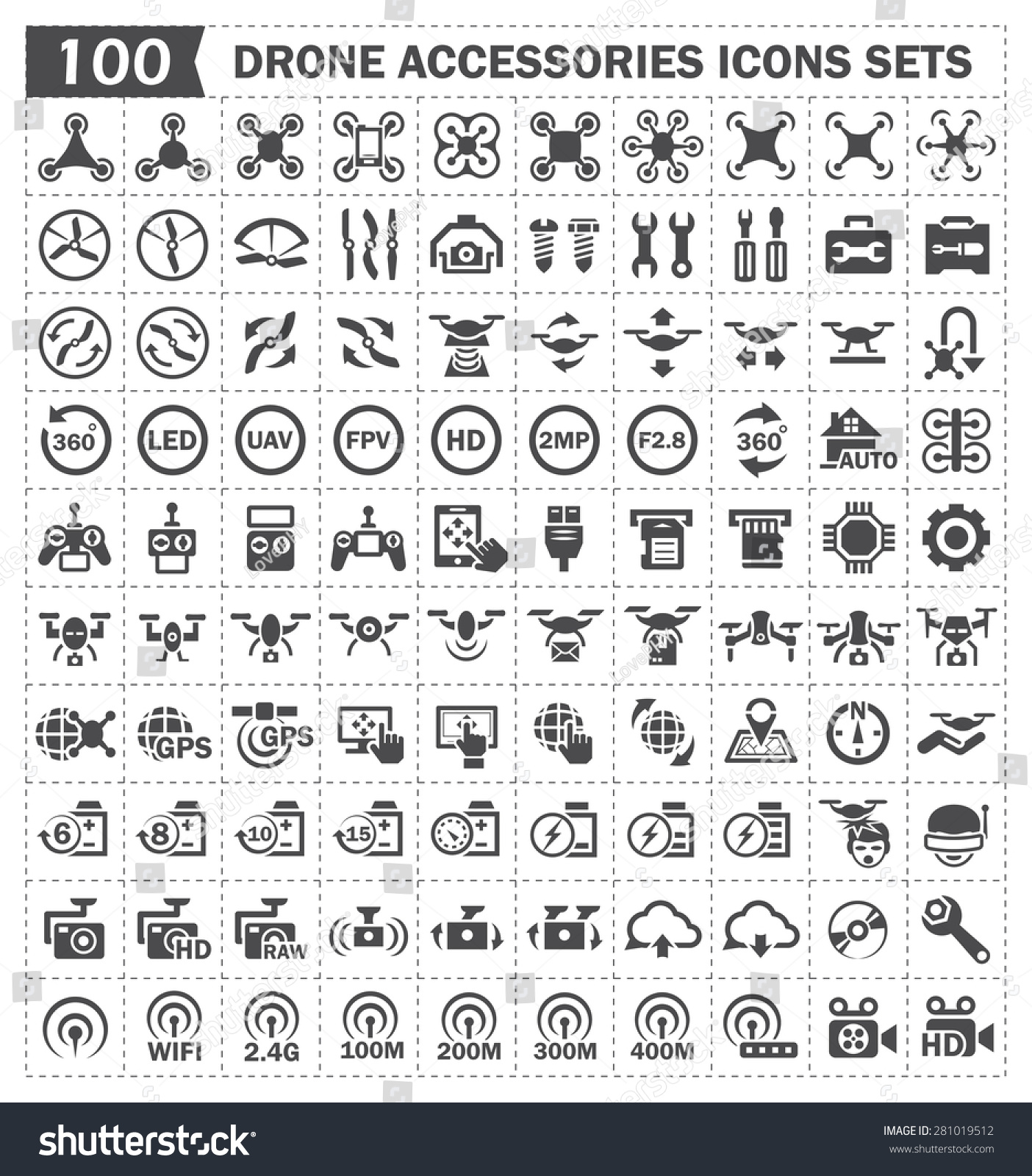 Drone Photography Vector Icon Sets Stock Photo (Photo, Vector ...