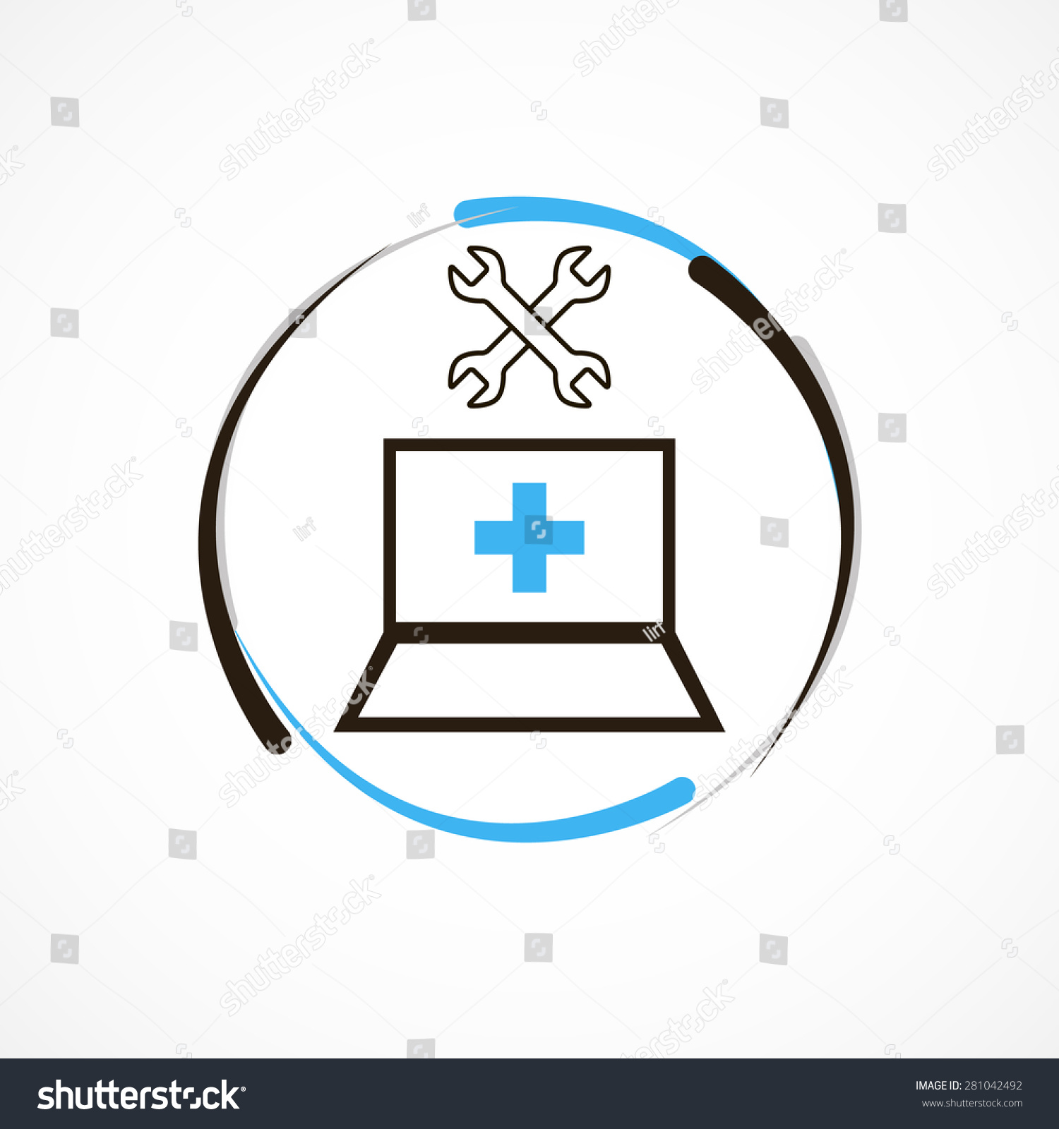 computer repair service logo icon stock vector 281042492