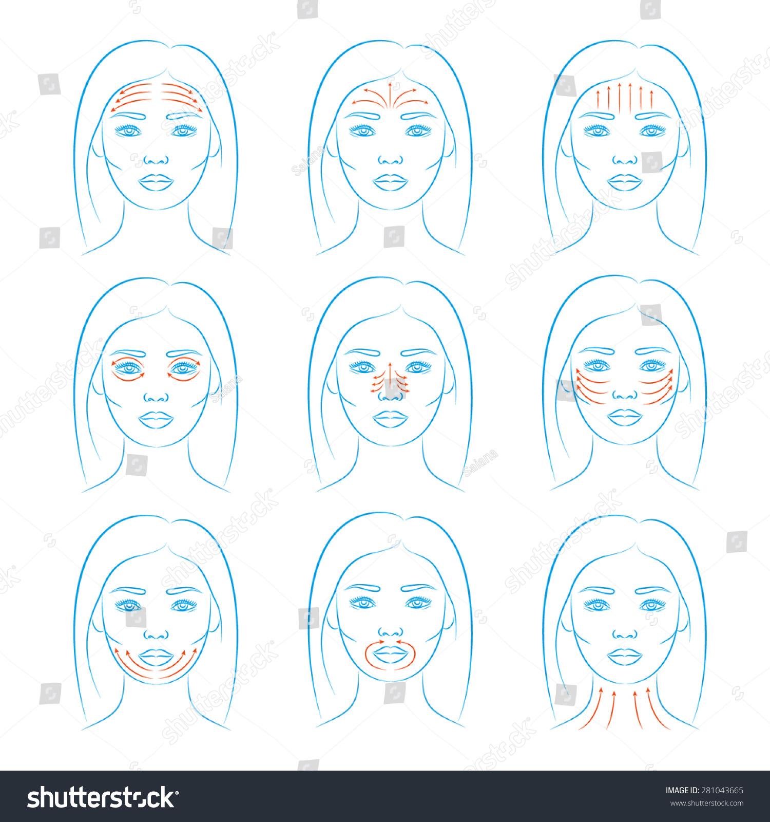 Set of face massage instructions isolated on white background.