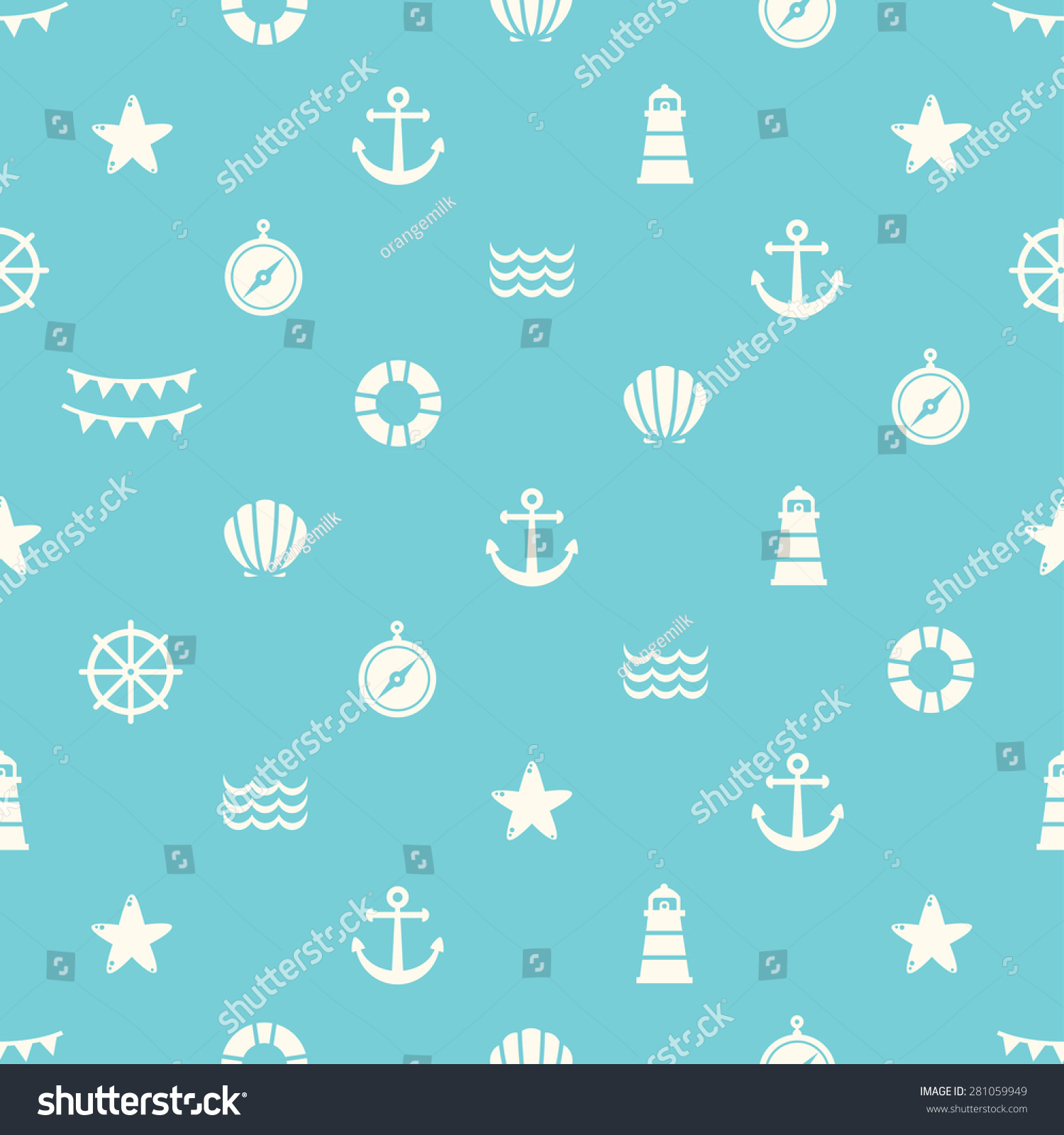 Simple Blue Vector Seamless Pattern Flat 281059949